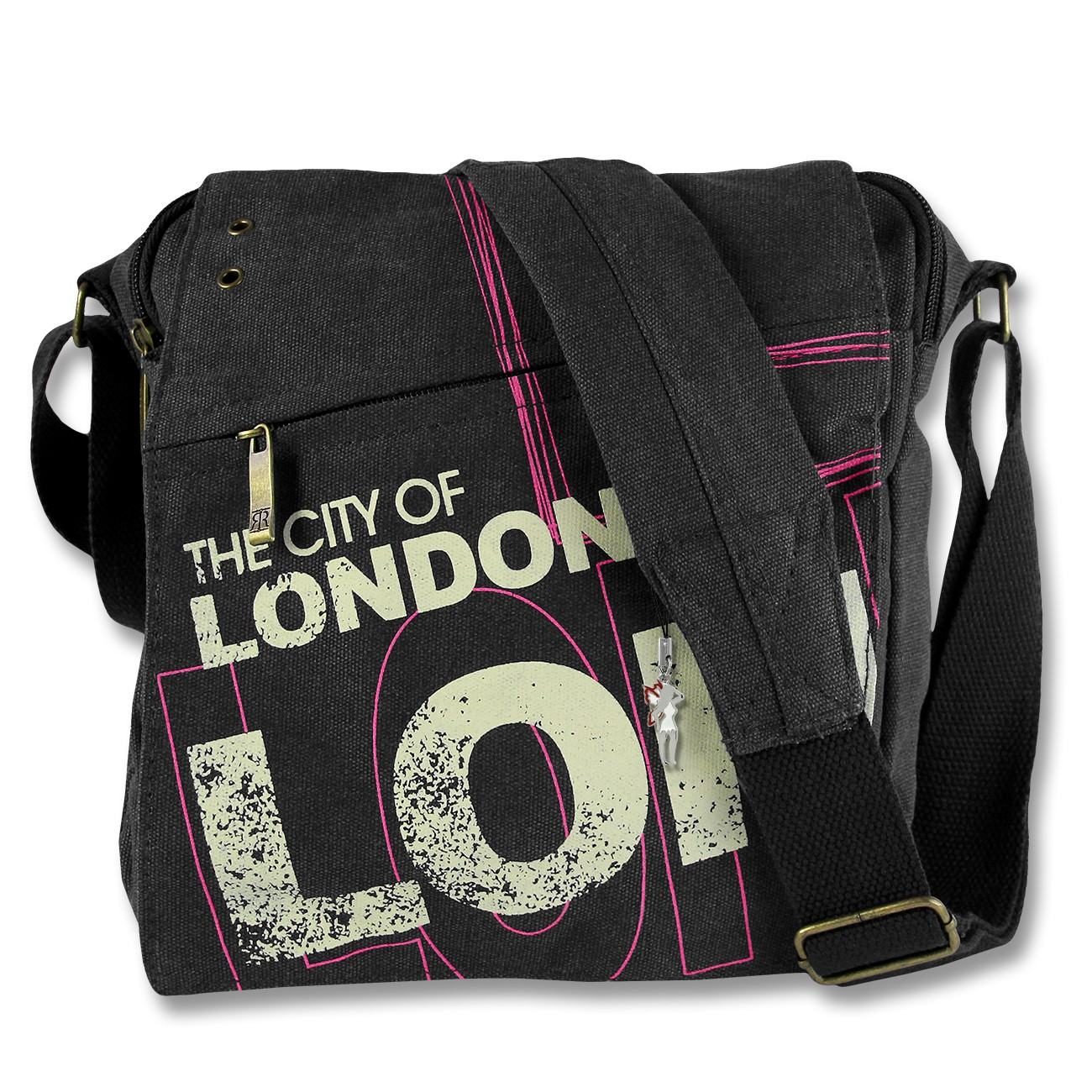 Umhängetasche Canvas schwarz Crossbody Messenger London Robin Ruth OTG202D