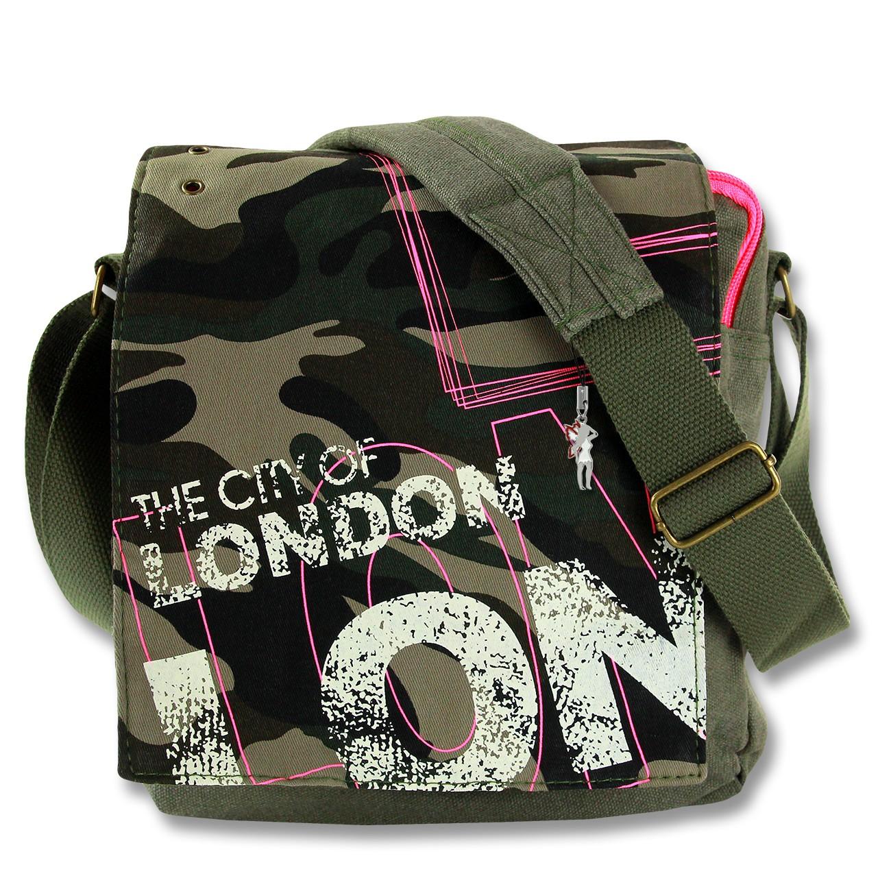 Umhängetasche Canvas grau LONDON CITY Crossover Messenger Robin Ruth OTG202E