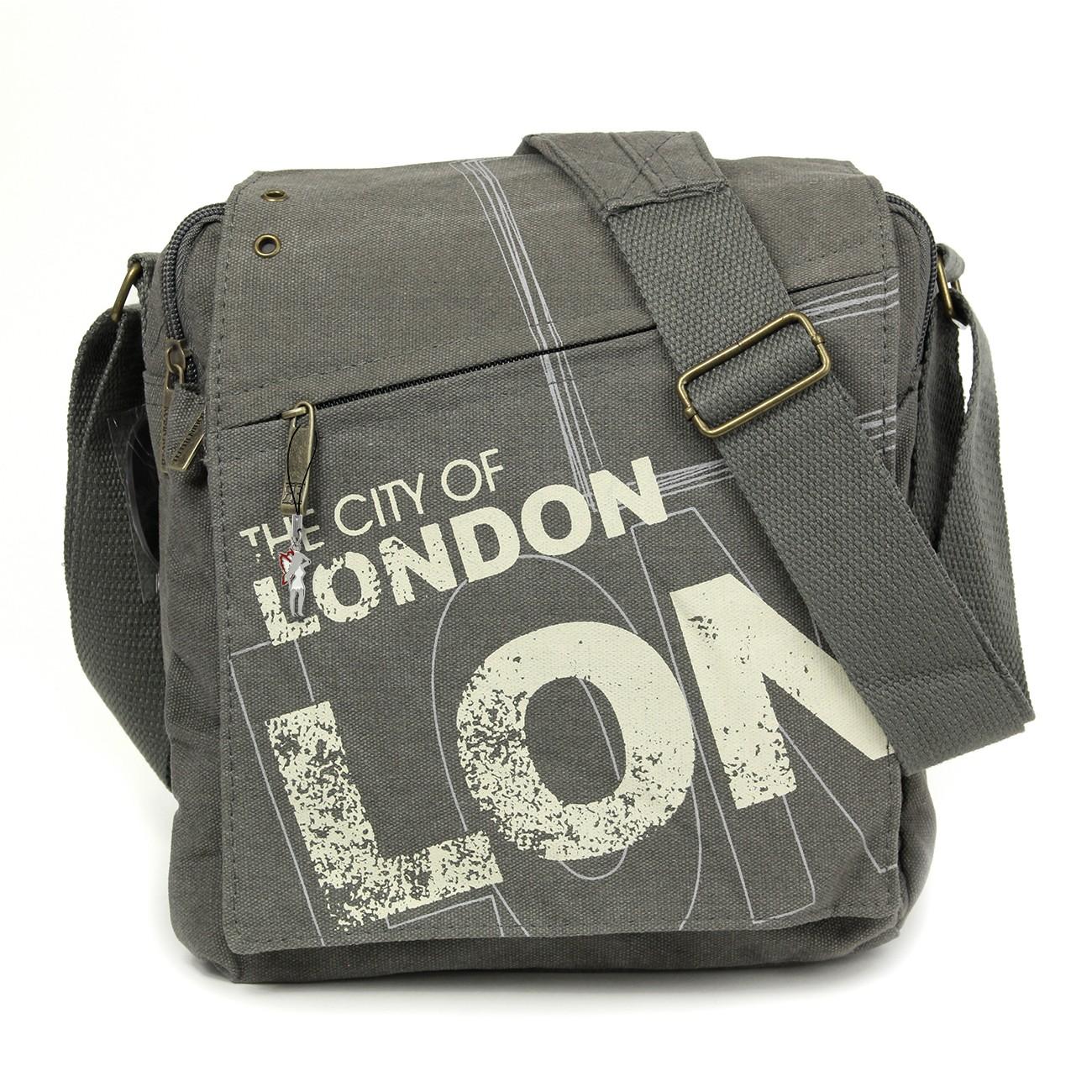 Umhängetasche Canvas grau LONDON Crossover Schultertasche Robin-Ruth OTG202K