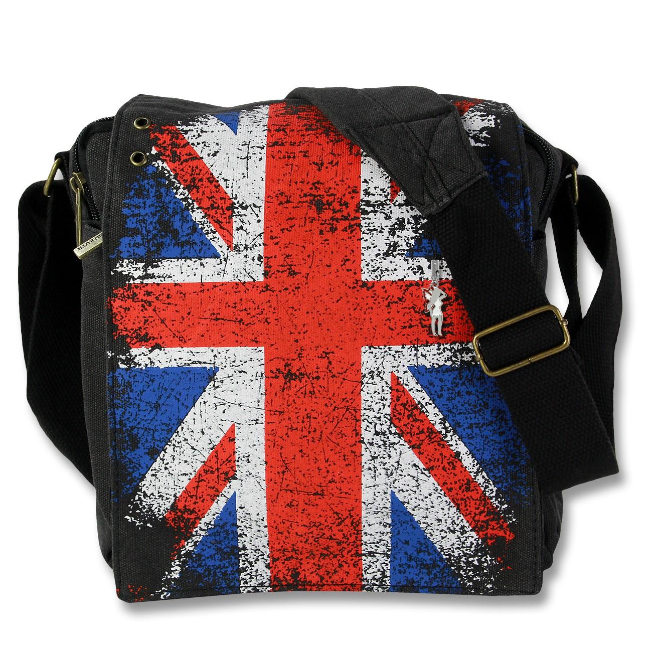 Umhängetasche Canvas schwarz Crossover Tasche Union Jack Robin Ruth OTG202L