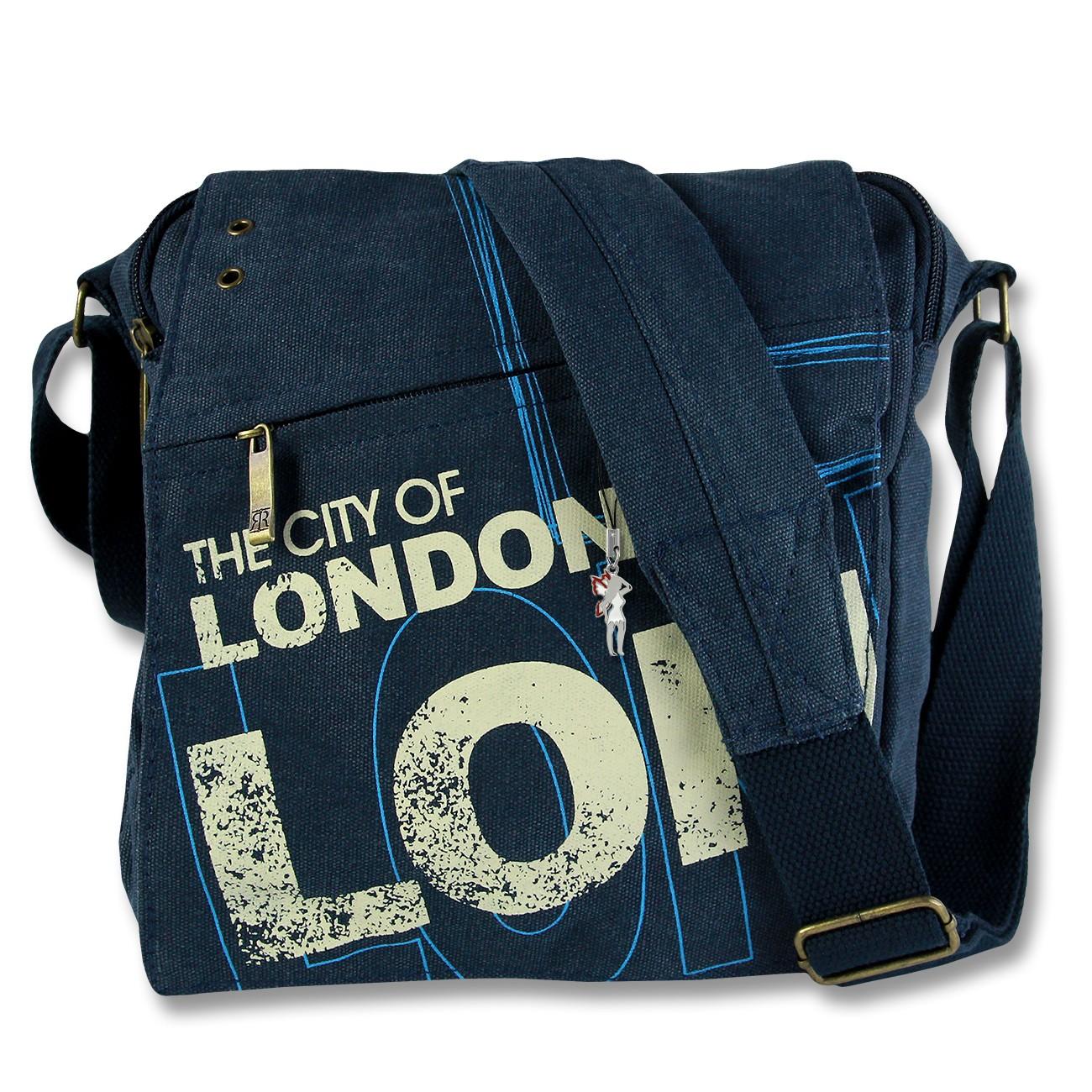 Umhängetasche Canvas blau Crossbody Tasche Messenger London Robin Ruth OTG202T