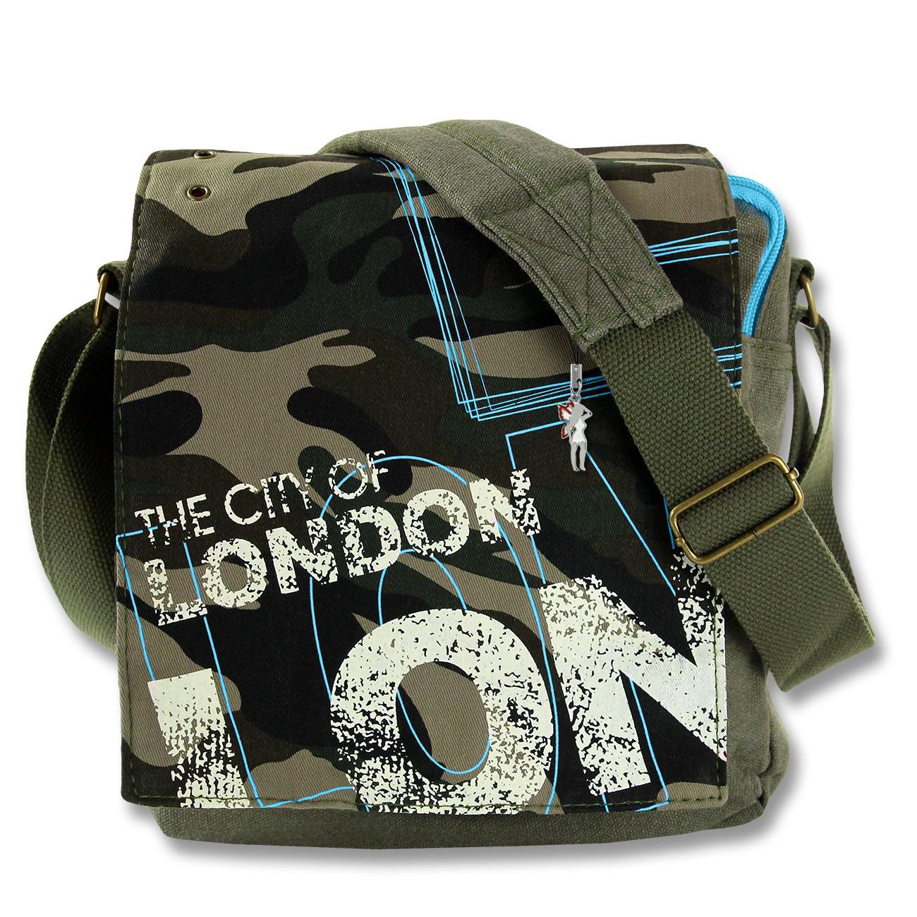 Umhängetasche Canvas grau Messenger Crossbody CITY LONDON Robin Ruth OTG202Y