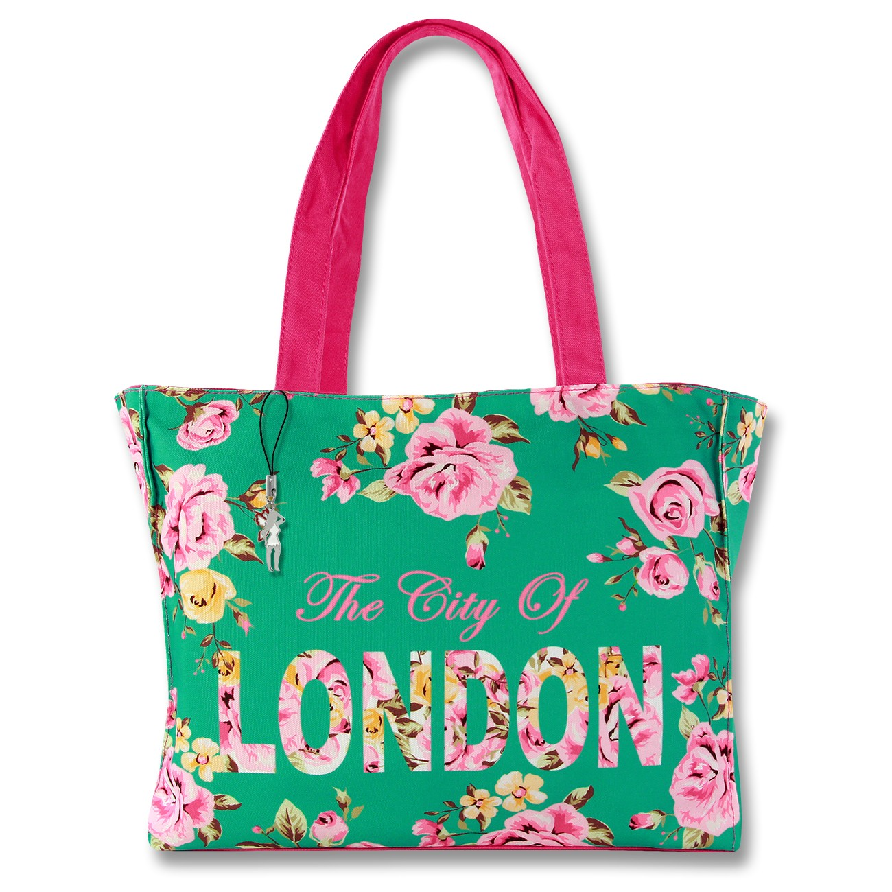 Schultertasche Henkeltasche Canvas grün pink Damen Shopper Robin Ruth OTG205G
