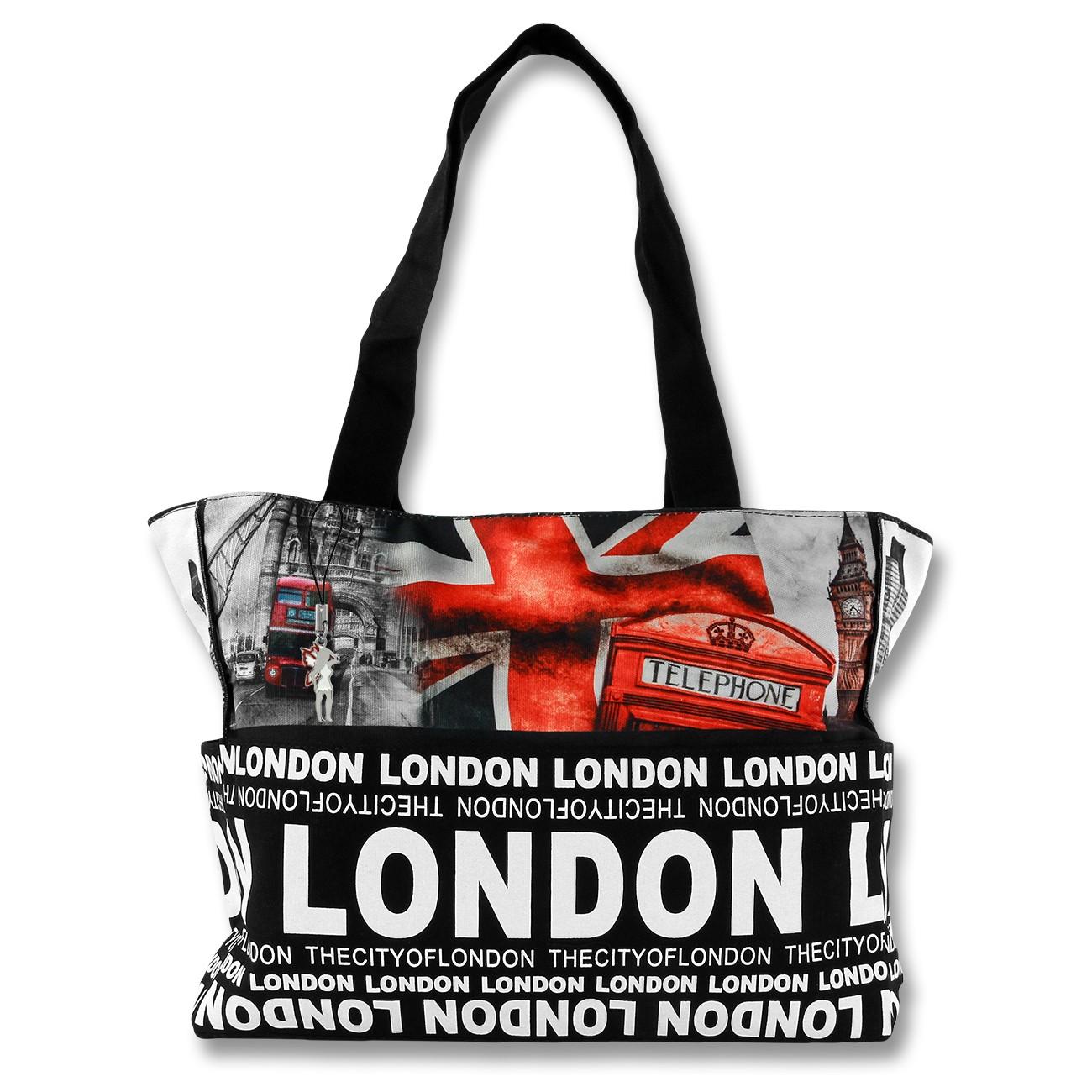 Schultertasche Henkeltasche Canvas schwarz rot Shopping Bag Robin Ruth OTG205R