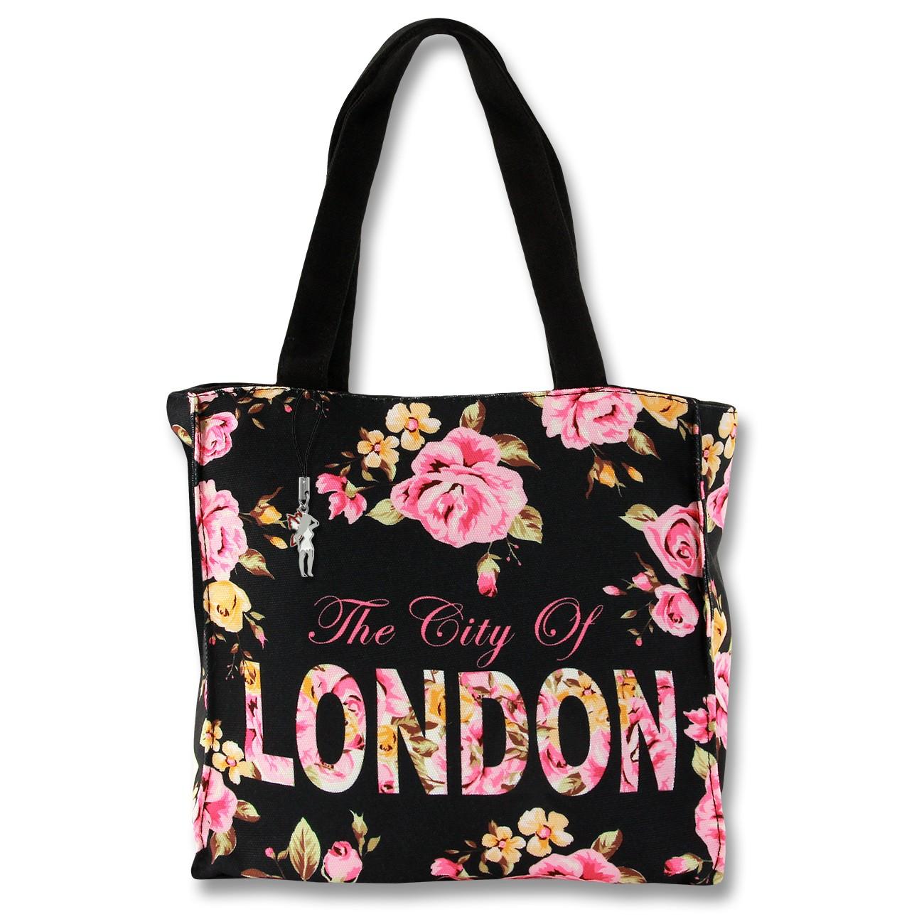 Henkeltasche Schultertasche Canvas schwarz pink Damentasche Robin Ruth OTG206S