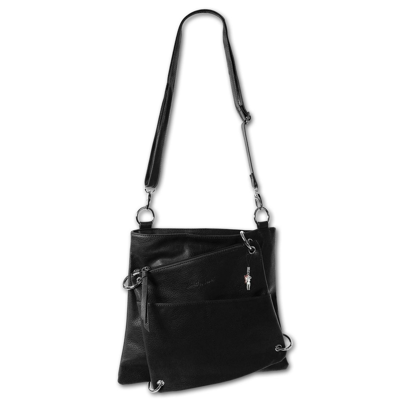 Umhängetasche schwarz Kunstleder Damen Handtasche 2in1 Jennifer Jones OTJ112S
