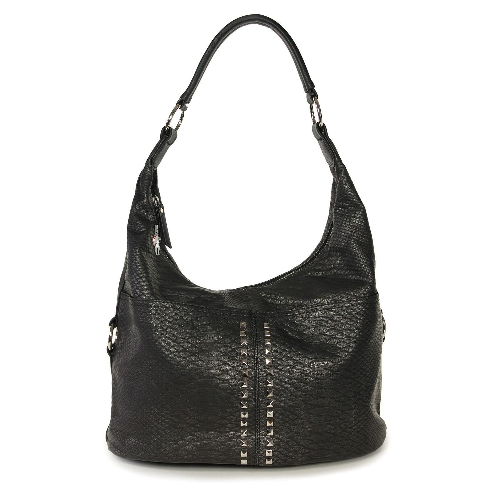 Beuteltasche Kunstleder grau Schultertasche Hobo Bag Jennifer Jones OTJ126K