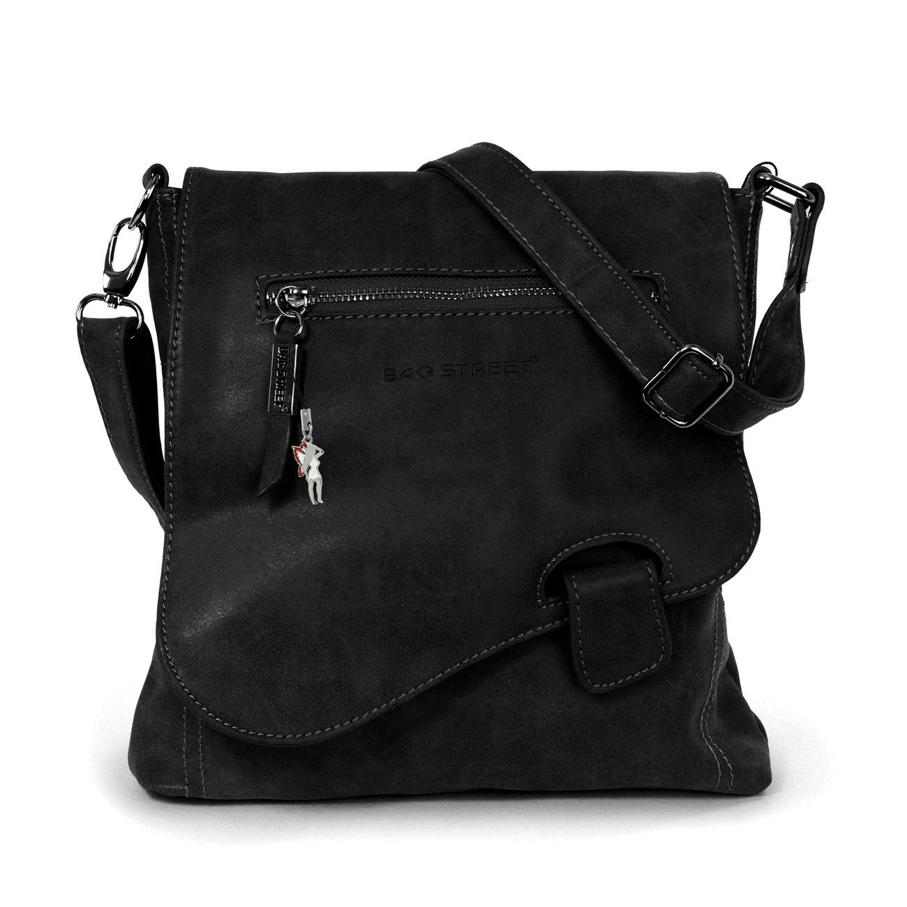 Umhängetasche, Schultertasche Kunstleder schwarz Handtasche Bag Street OTJ128S