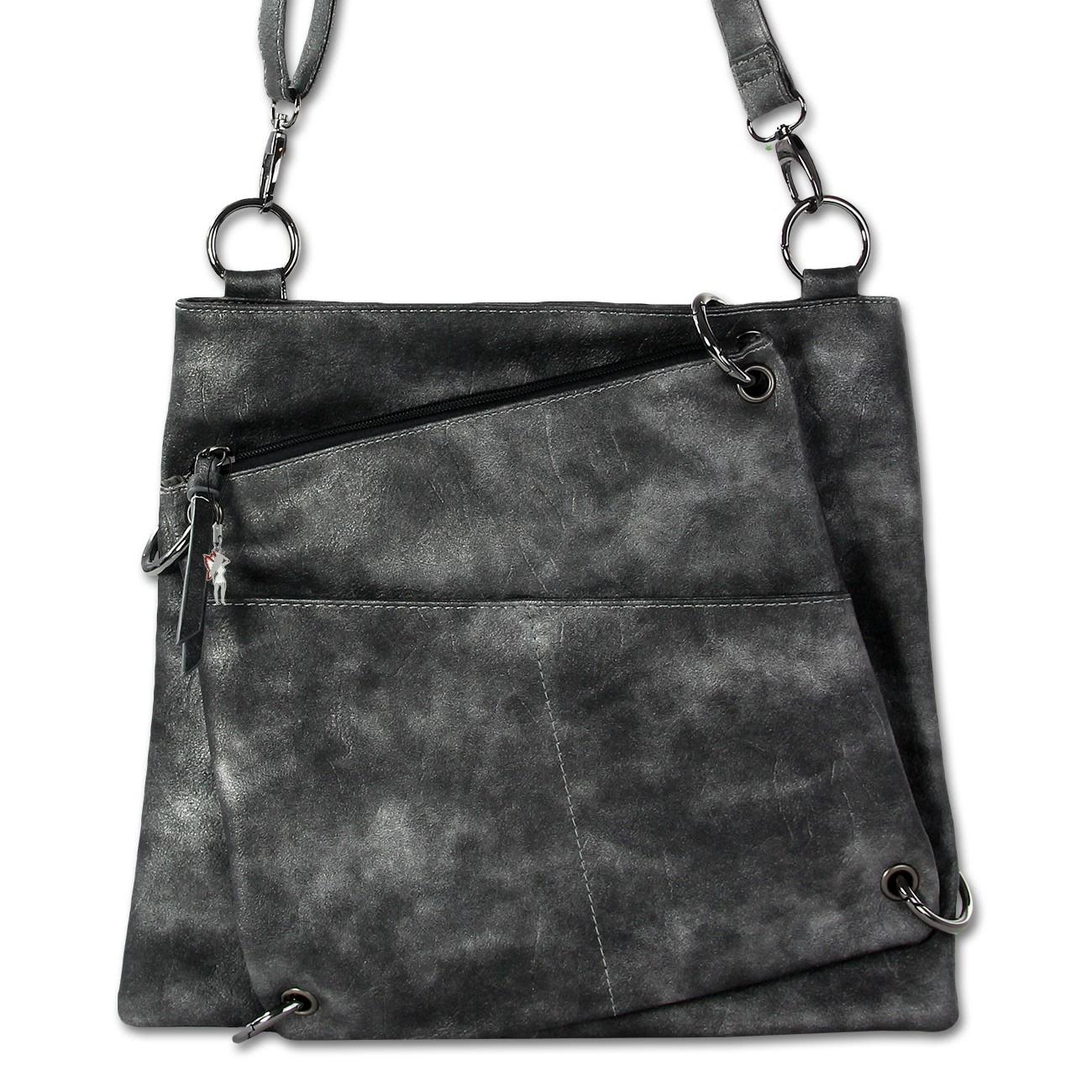 Umhängetasche Abendtasche Kunstleder schwarz Damentasche Jennifer Jones OTJ138S