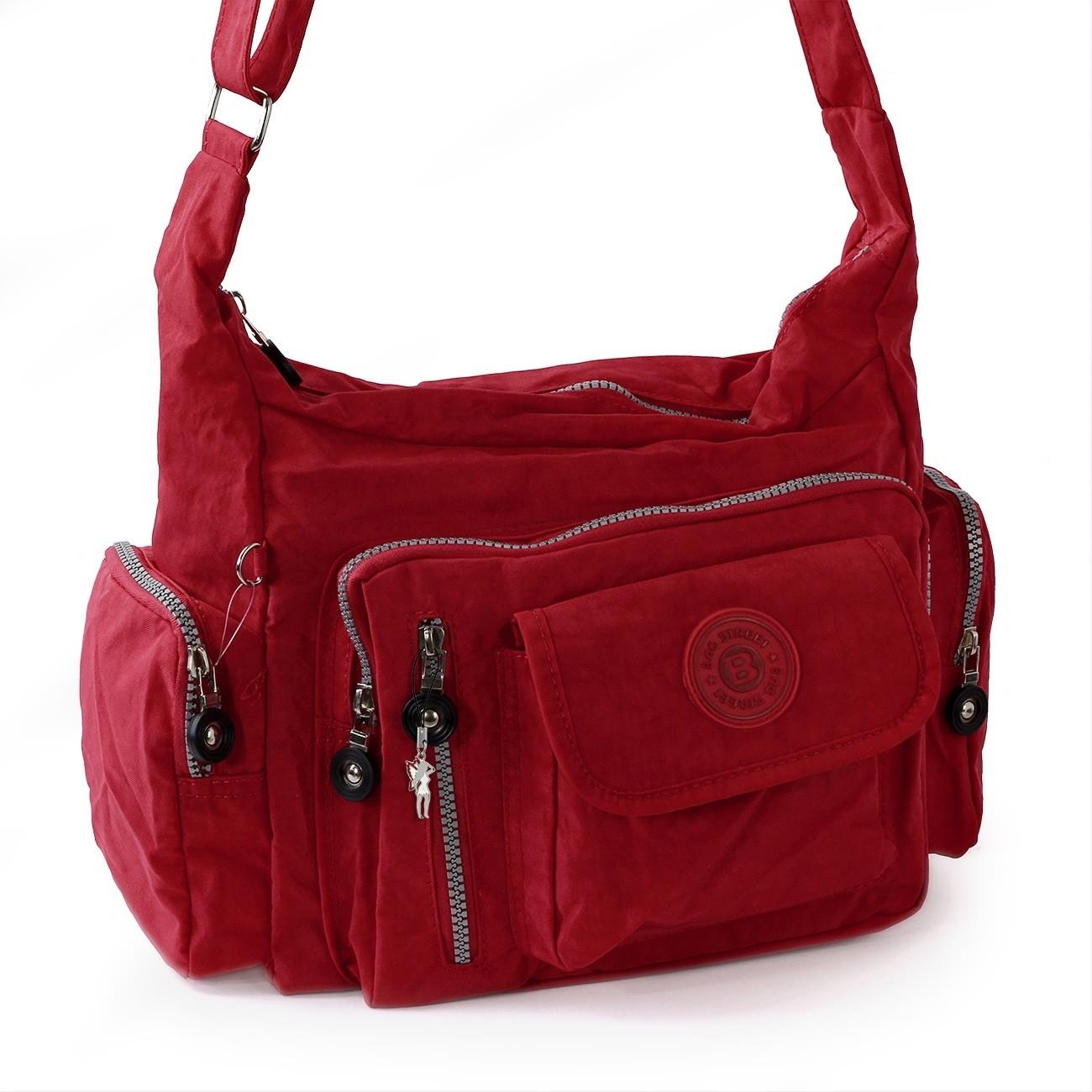Schultertasche Nylon rot Sportliche Damen Umhängetasche Bag Street OTJ204R