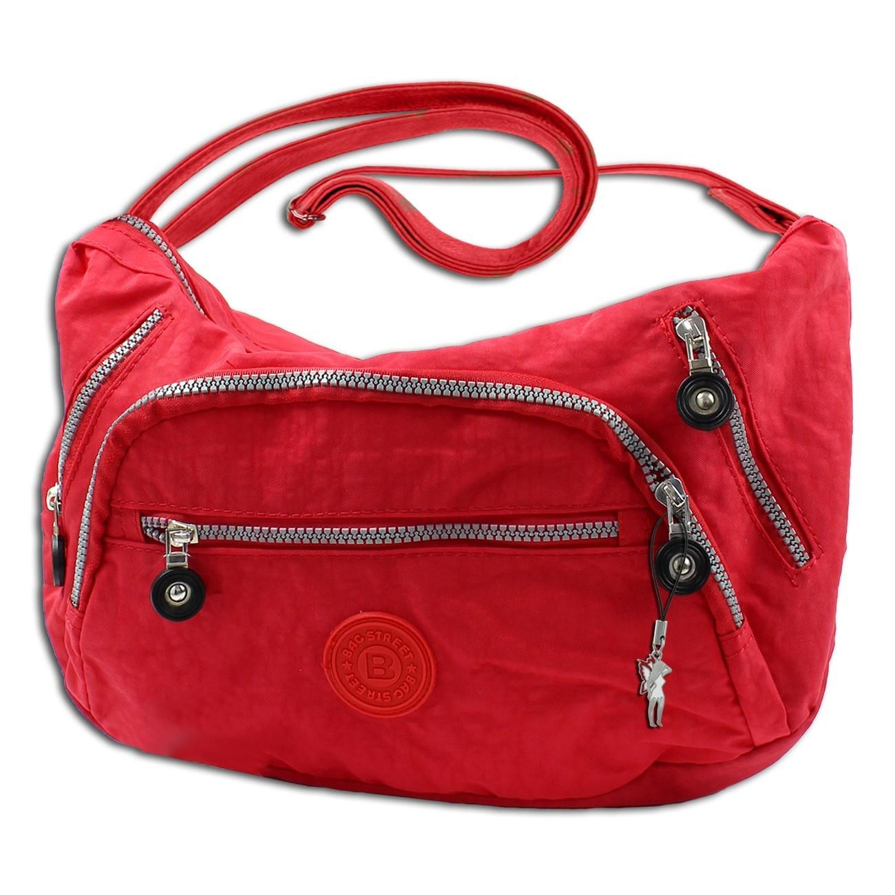 Schultertasche Damen Handtasche rot Nylon Umhängetasche Bag Street OTJ210R