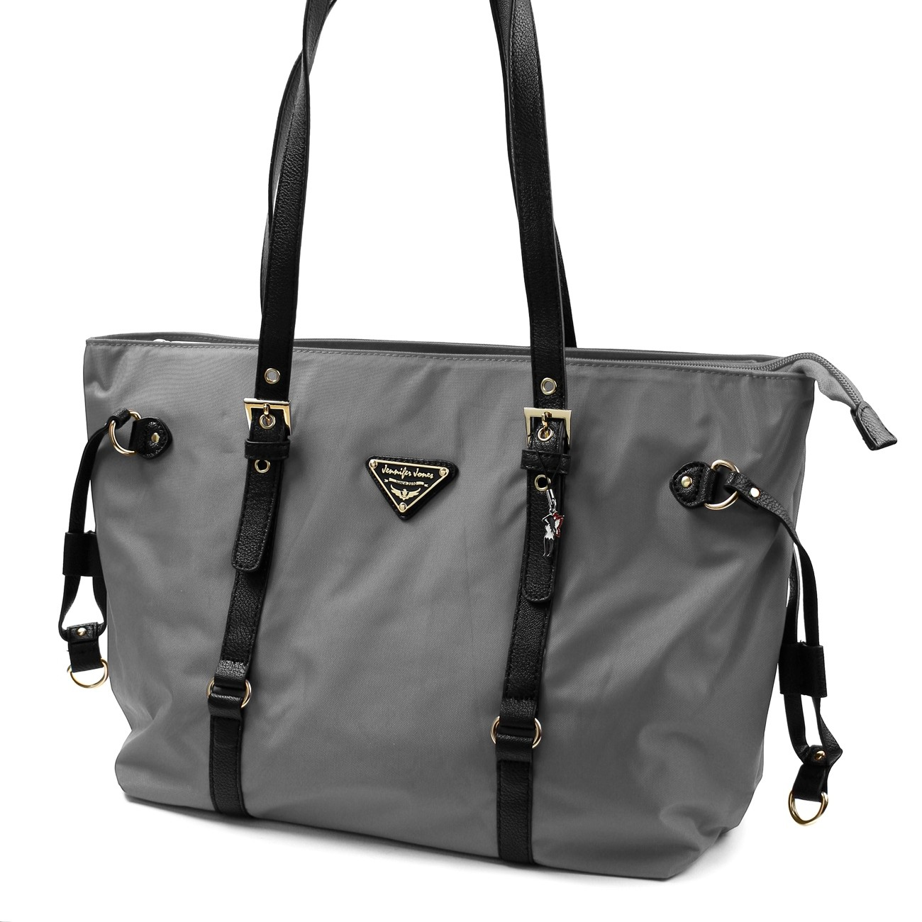 Shopper Damen Handtasche grau Nylon Schultertasche Jennifer Jones OTJ211K