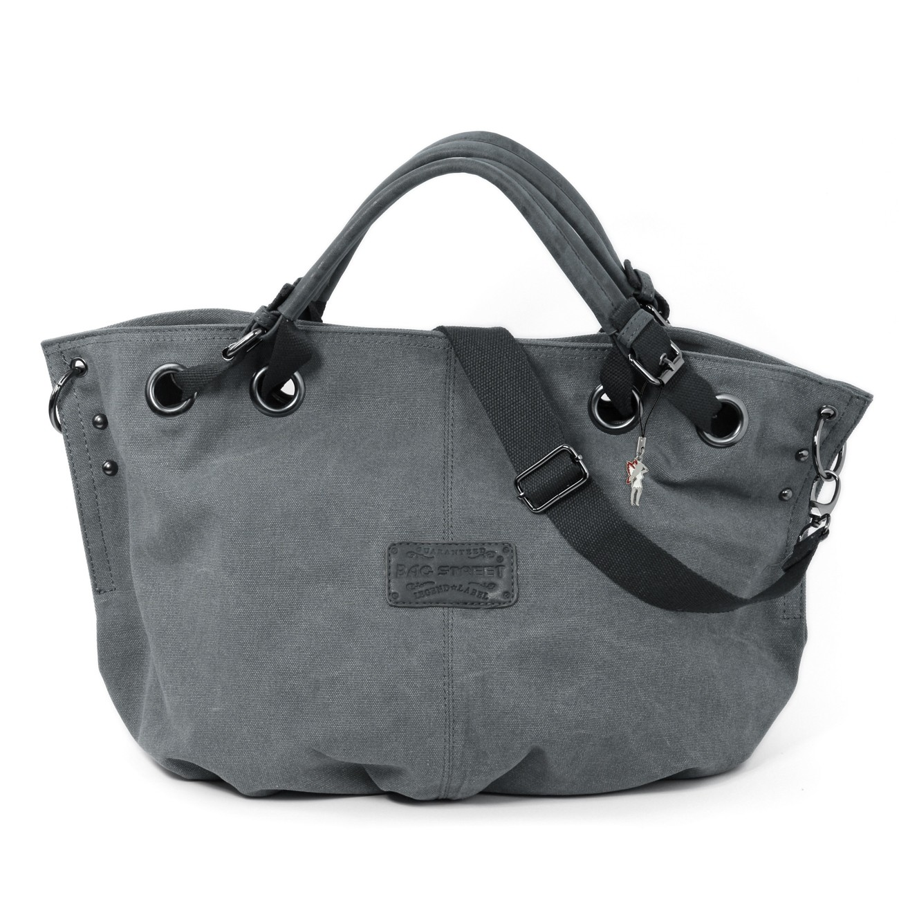 Beuteltasche Canvas grau Damen Hobo Shopper Handtasche Bag Street OTJ213K