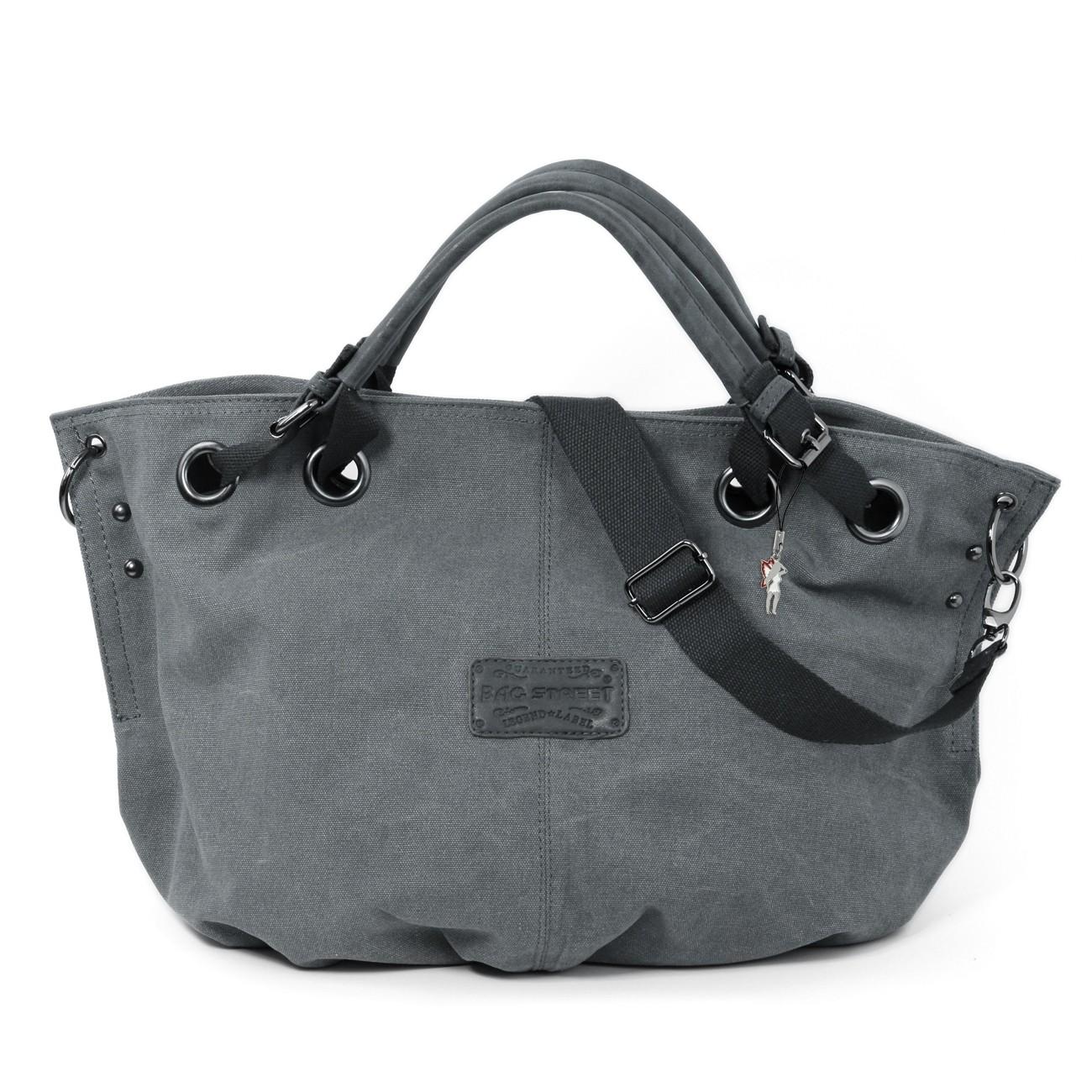 Beuteltasche Canvas grau Damen Hobo Shopper Handtasche Bag Street OTJ213K