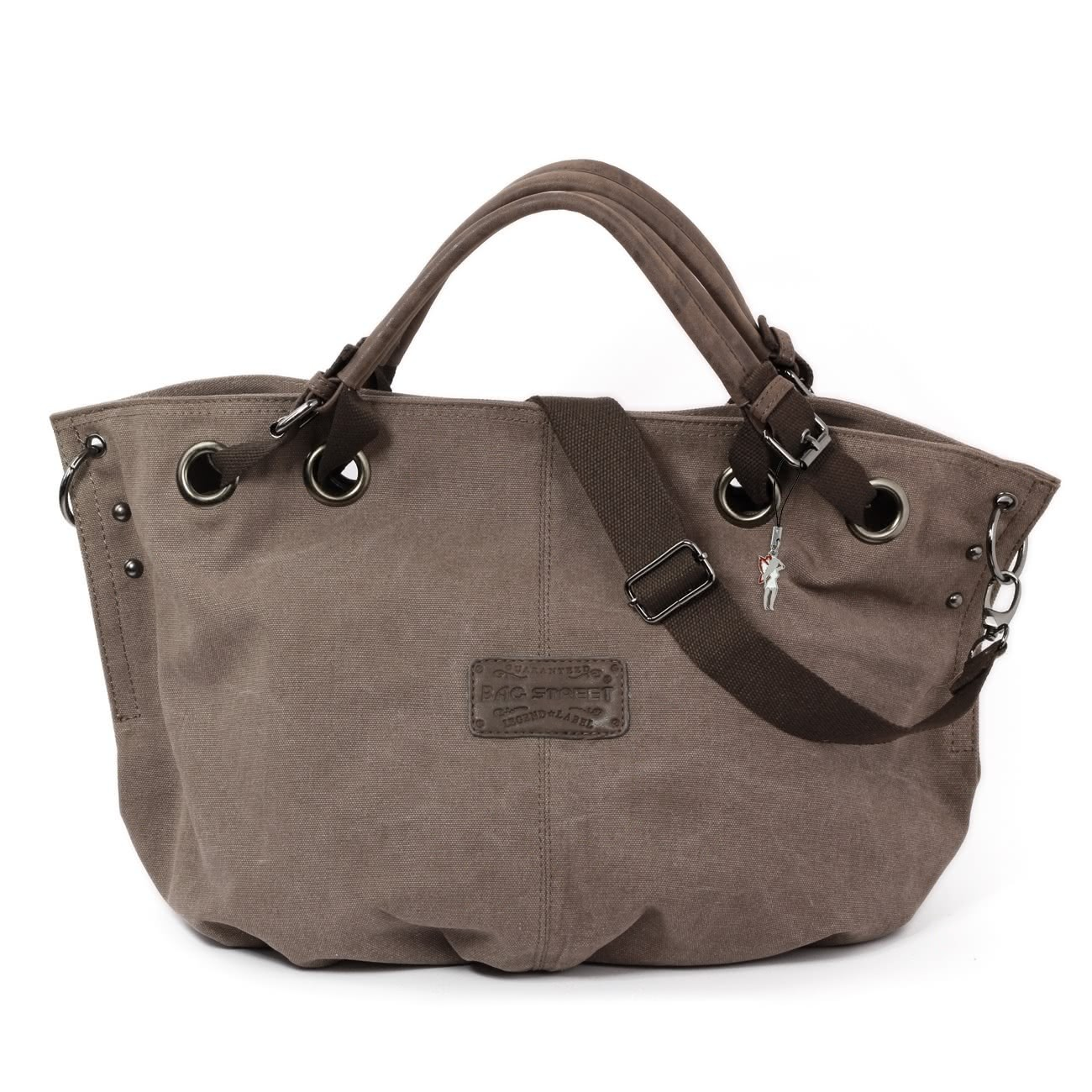 Beuteltasche Canvas braun Damen Hobo Shopper Handtasche Bag Street OTJ213N