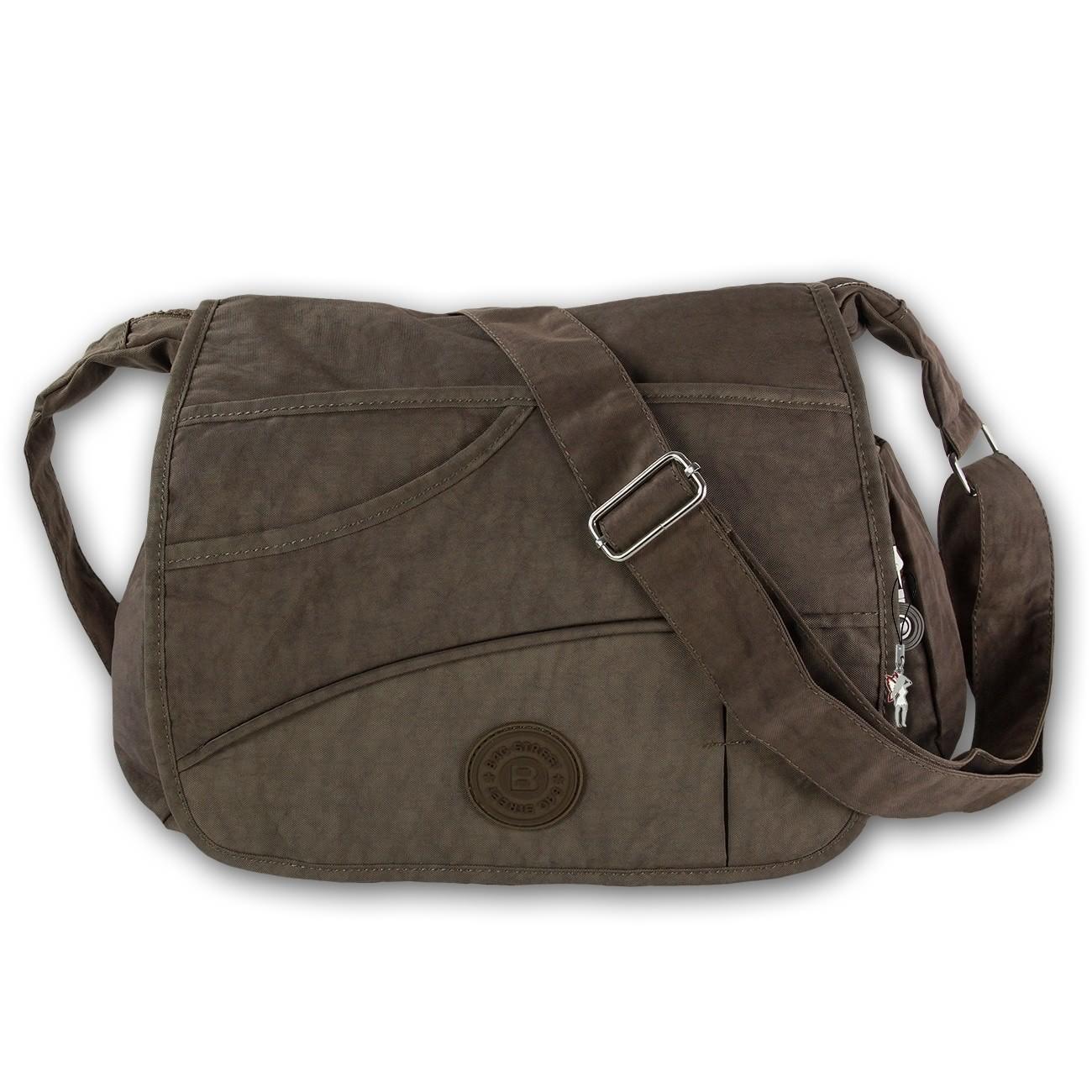 Umhängetasche Nylon braun Damen crossbody Überschlagtasche Bag Street OTJ214N