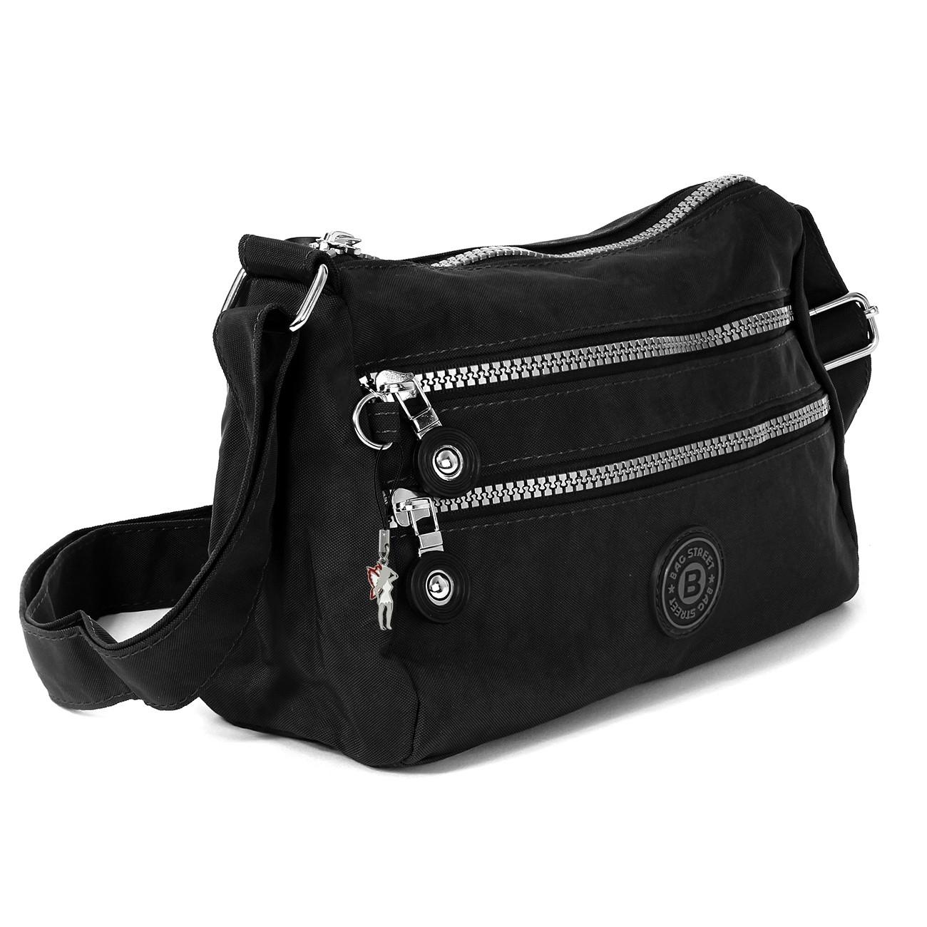 Umhängetasche Nylon schwarz Sportliche Damen Handtasche Bag Street OTJ229S