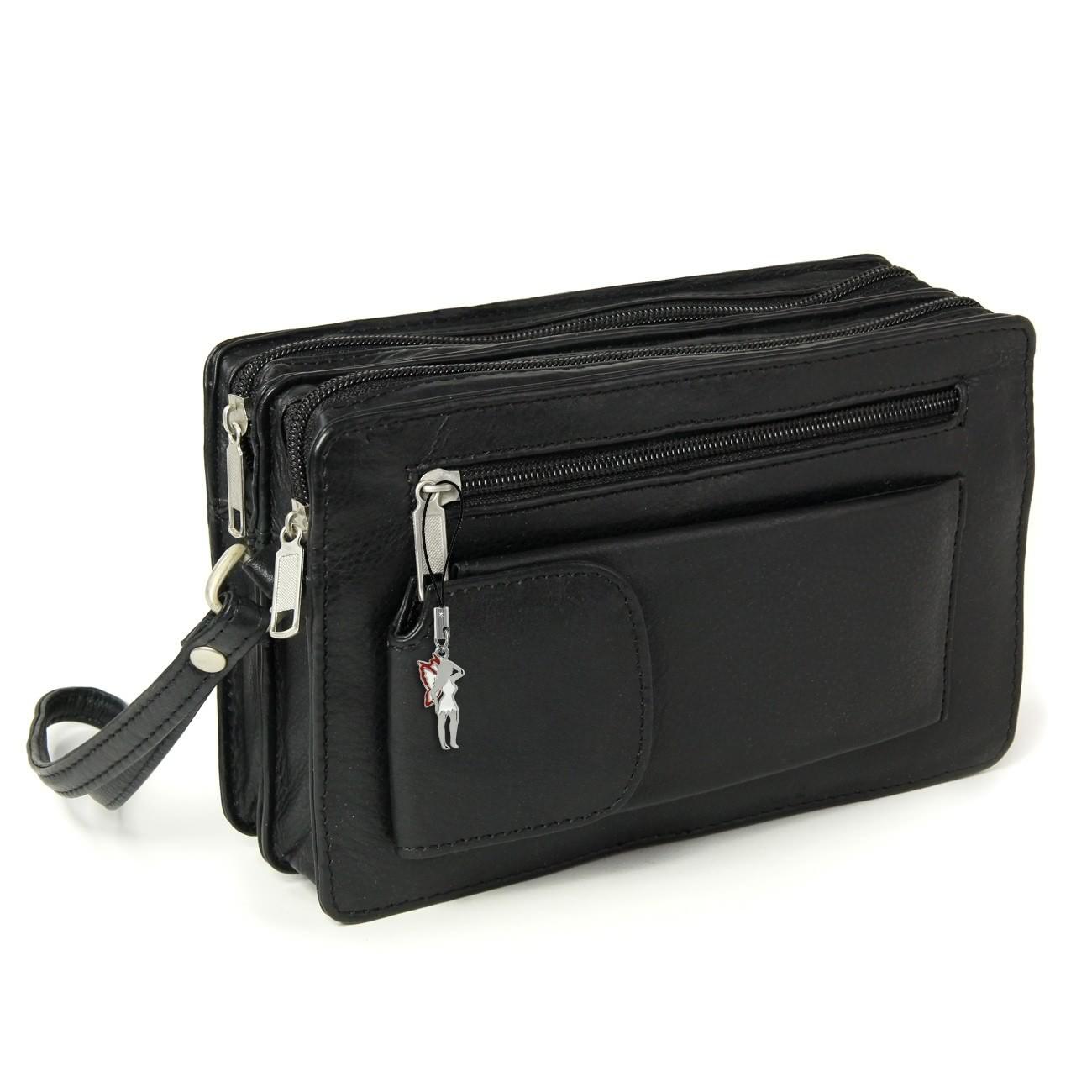 Handgelenktasche schwarz Leder Handytasche Herrentasche OTJ500S