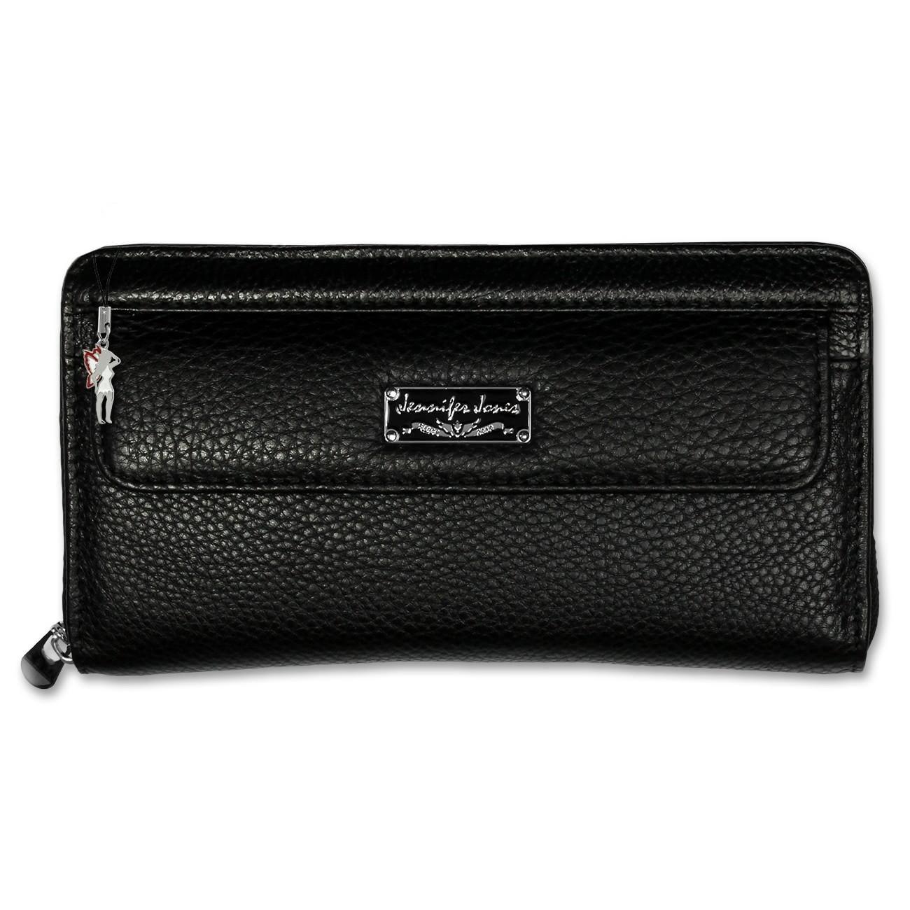 Geldbörse Wristlet Leder schwarz Damen Portemonnaie Jennifer Jones OTJ510S