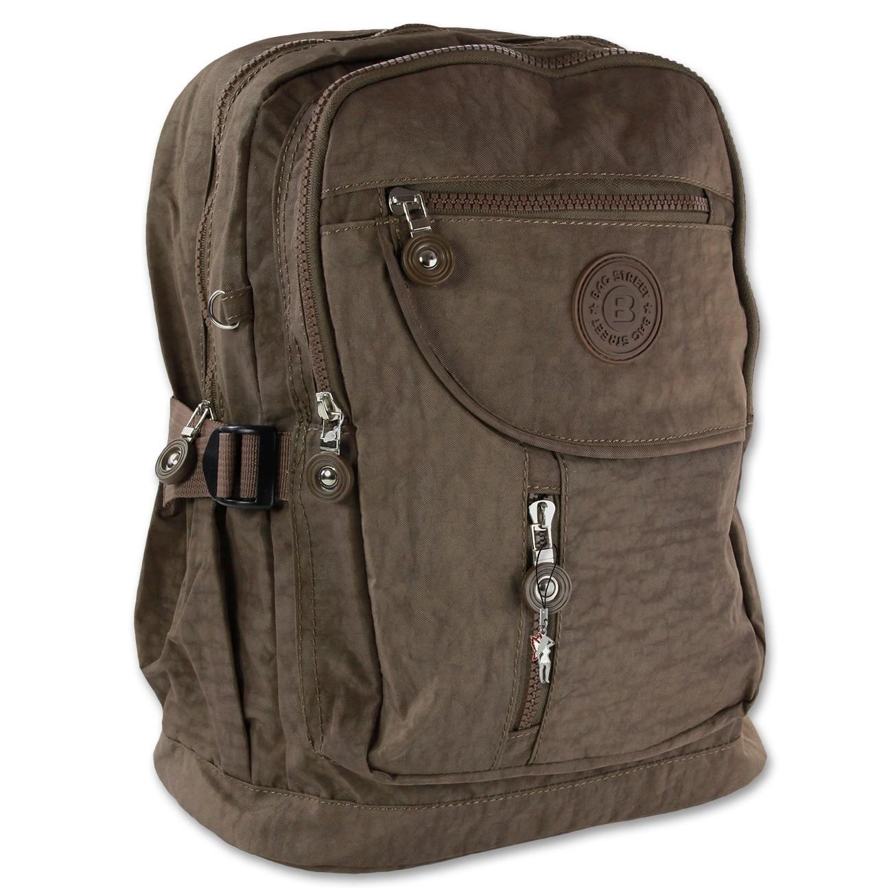 Rucksack Handtasche Nylon braun trendiger Damen Cityrucksack Bag Street OTJ604N