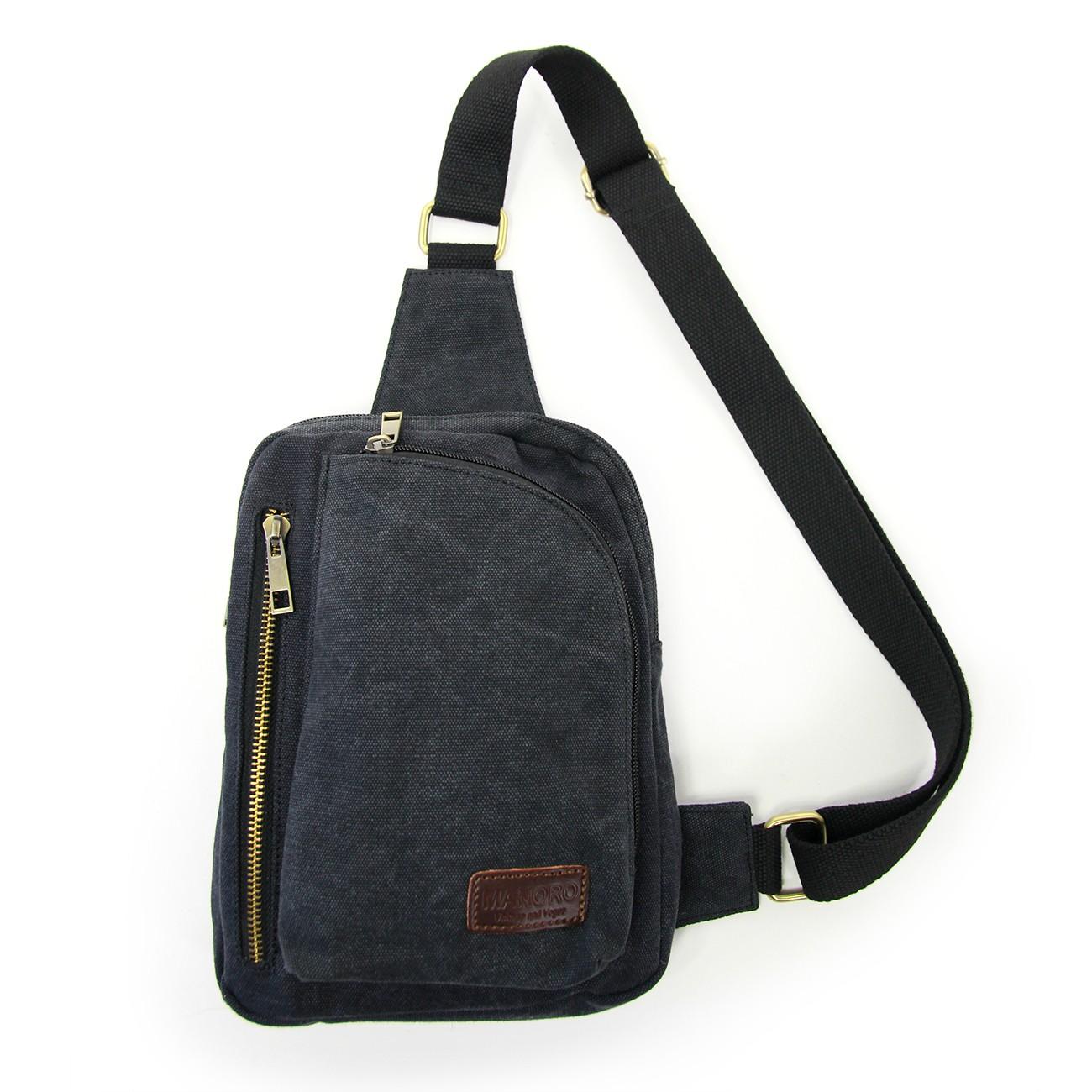 Umhängetasche Canvas schwarz Bodybag Crossover Manoro OTK213S