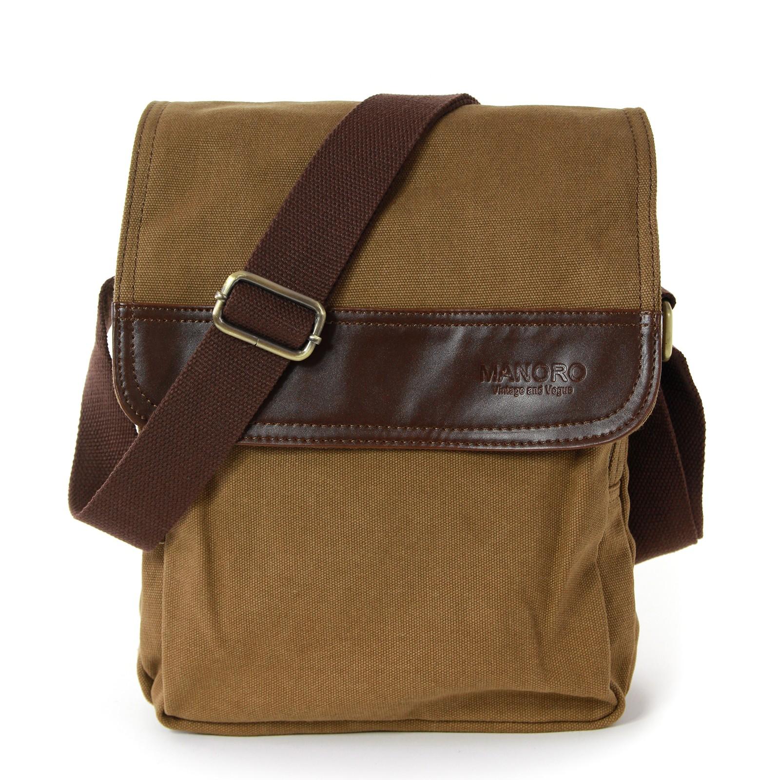 Umhängetasche, Messenger Bag Canvas khaki, braun Crossover Tasche Manoro OTK215N