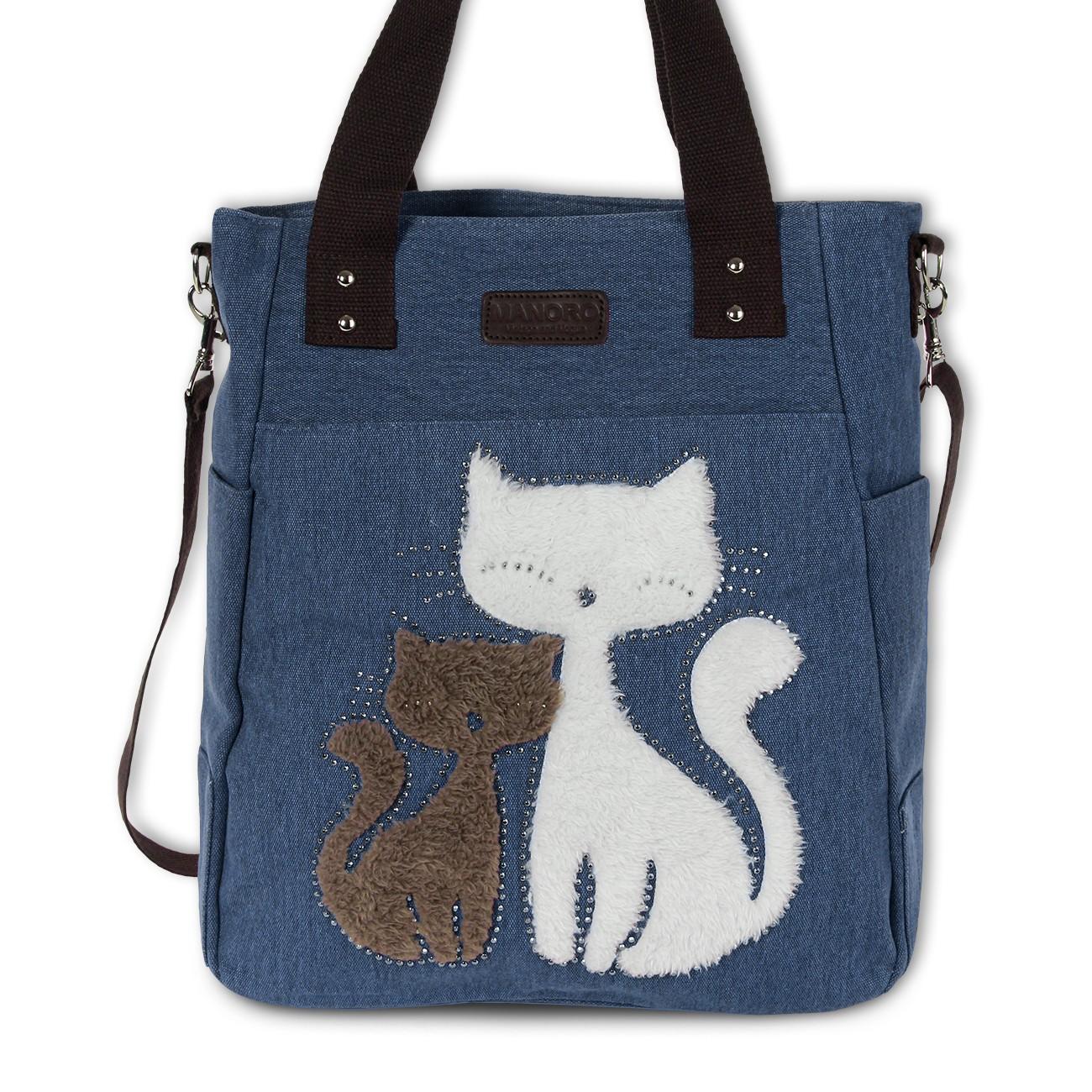 Henkeltasche, Shopper Canvas blau Handtasche Cats Manoro OTK217B