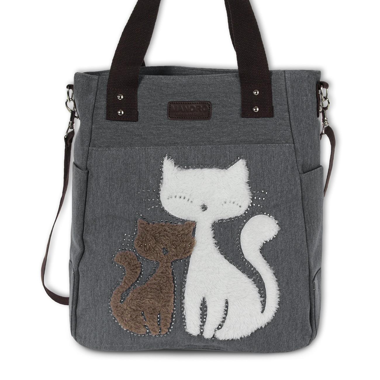 Henkeltasche, Shopper Canvas grau Handtasche Cats Schultertasche Manoro OTK217K