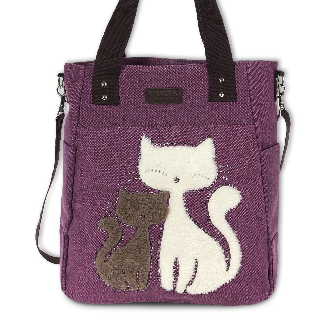 Henkeltasche, Shopper Canvas violett Handtasche Cats Manoro OTK217V