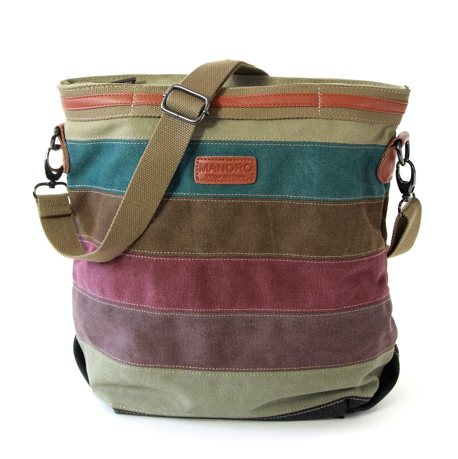 Schultertasche, Handtasche Canvas mehrfarbig, braun Shopper Manoro OTK219F