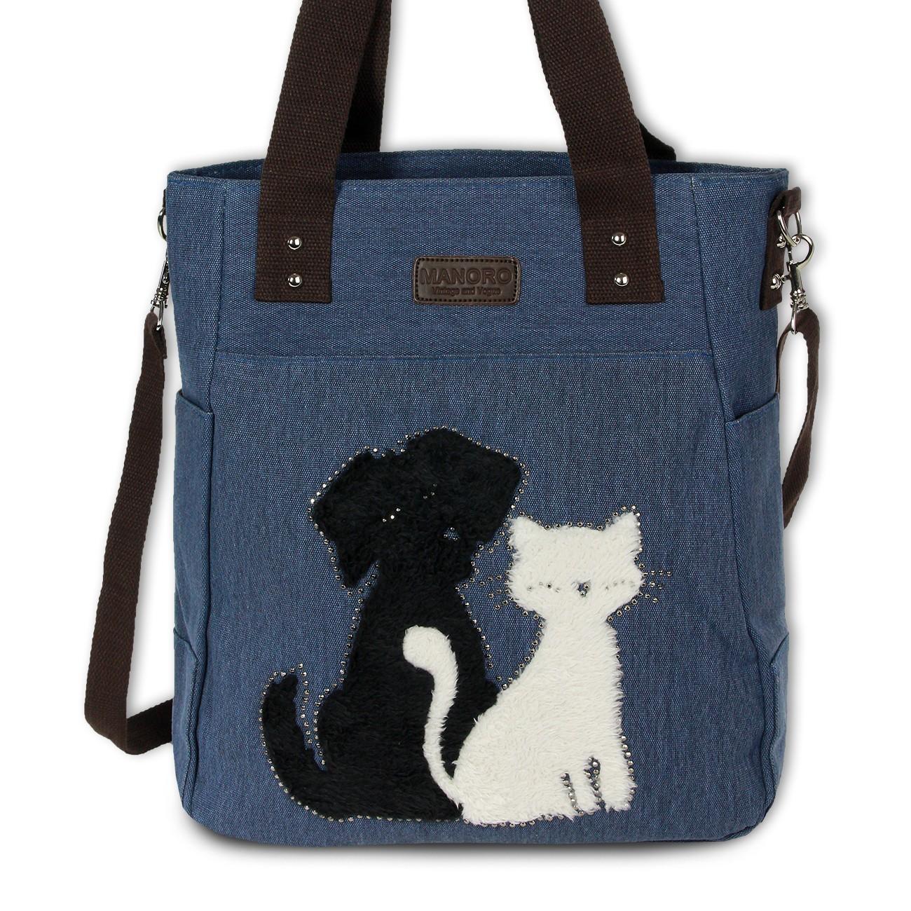Henkeltasche Shopper Canvas blau Schultertasche Handtasche Manoro OTK221B