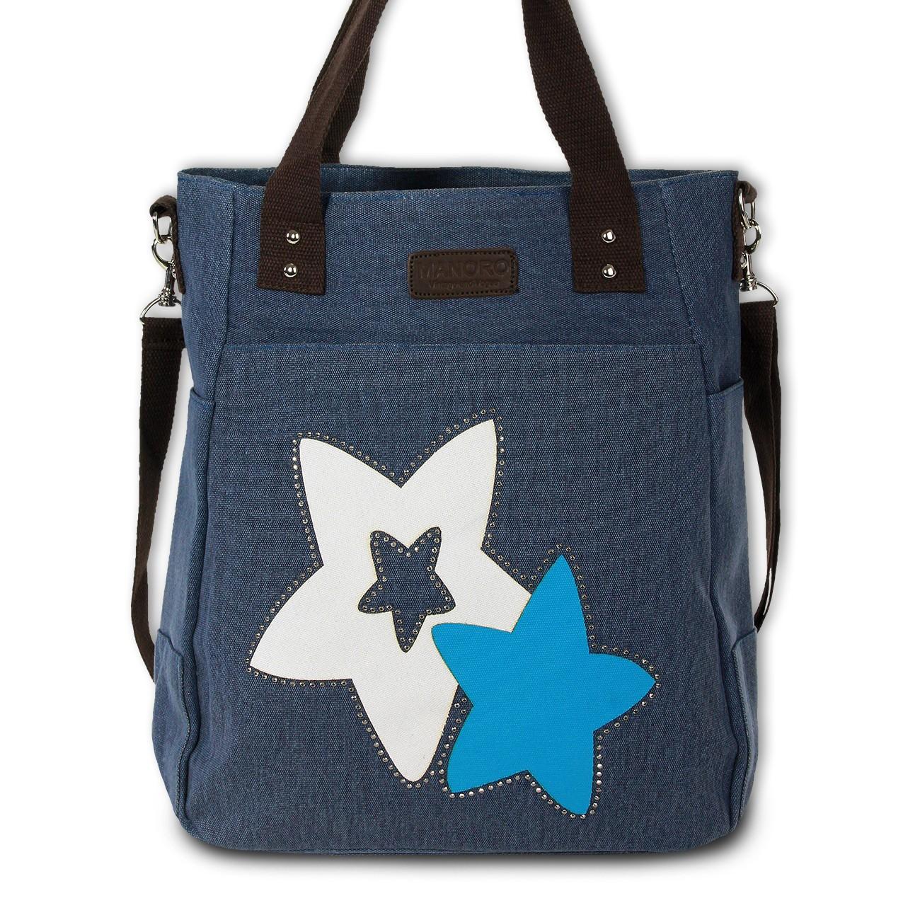 Henkeltasche Canvas blau Handtasche Shopper Stars Schultertasche Manoro OTK222B