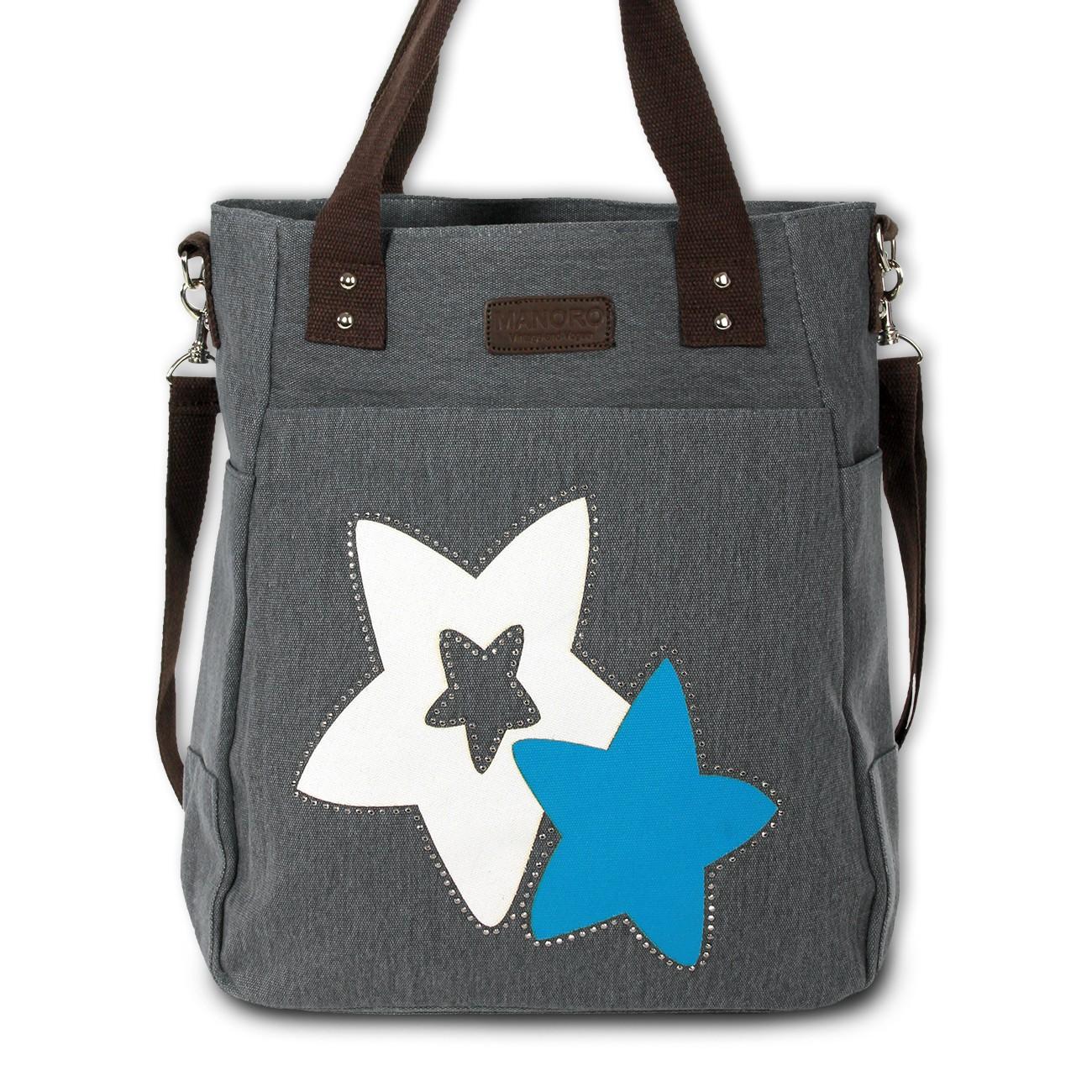Henkeltasche Canvas grau Shopper Handtasche Stars Schultertasche Manoro OTK222K