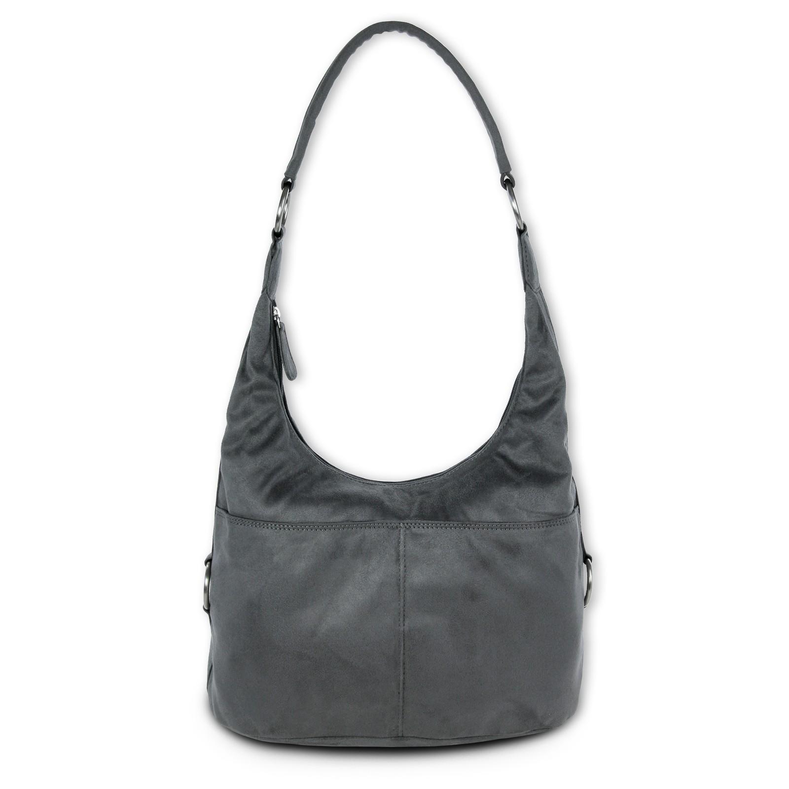 Beuteltasche Kunstleder grau Hobo Bag Damen Handtasche DrachenLeder OTS100K