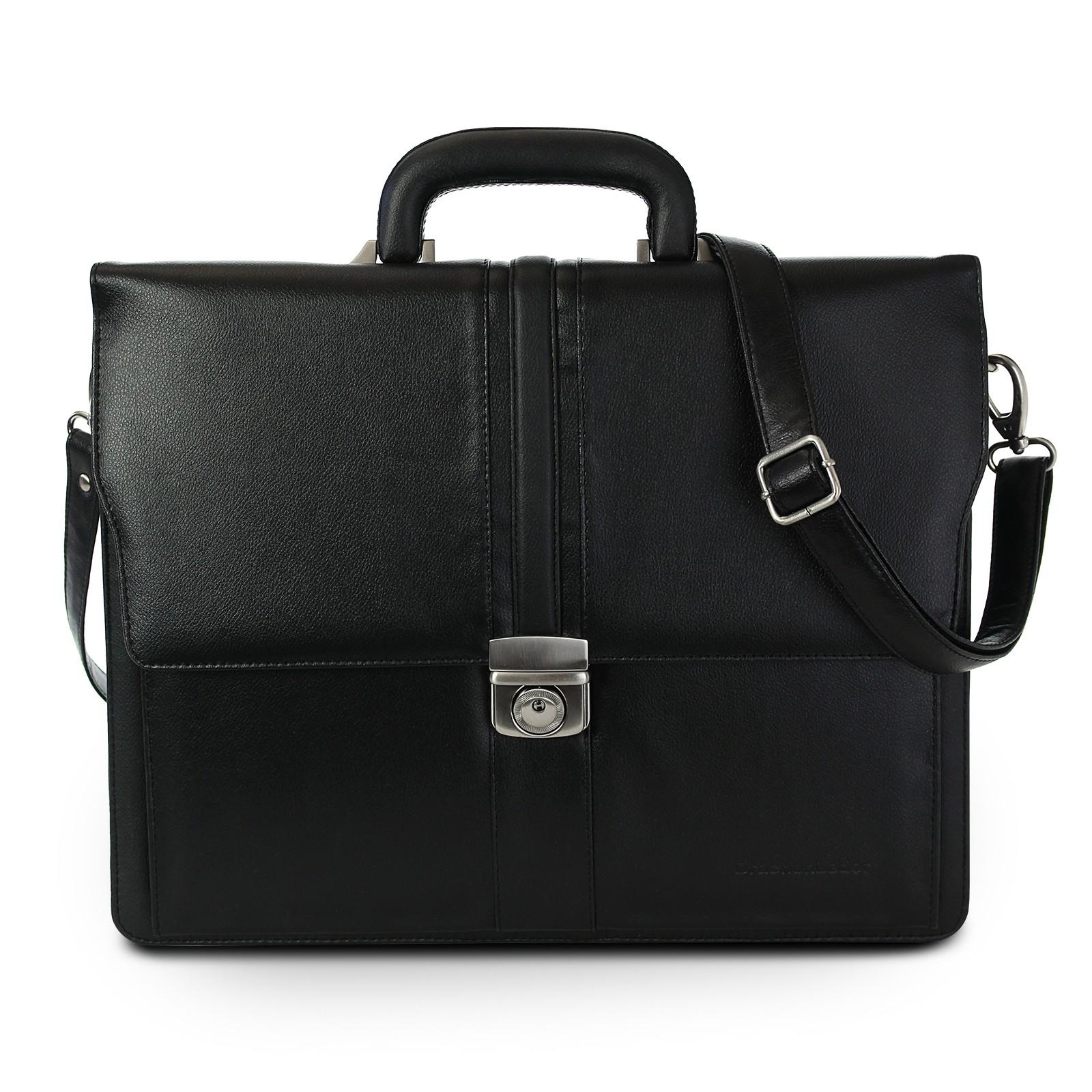 Aktentasche Kunstleder schwarz Bürotasche Businesstasche DrachenLeder OTS150S