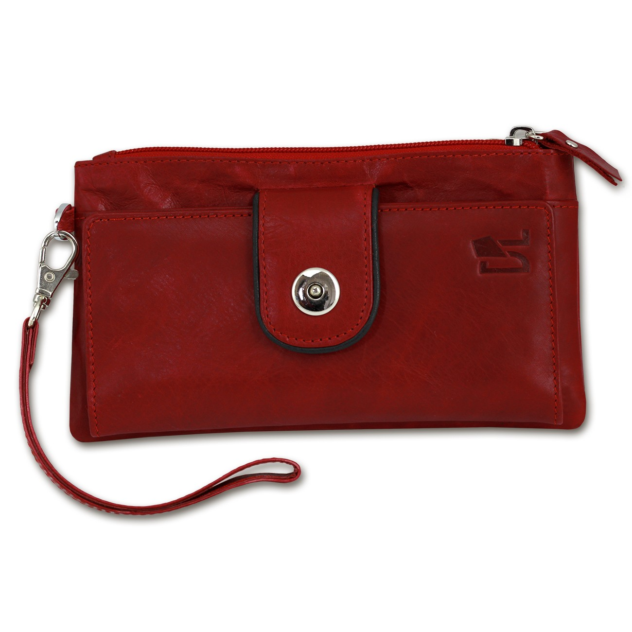 Geldbörse Handyhülle Clutch Leder rot Wristlet 3in1 DrachenLeder OTZ500R