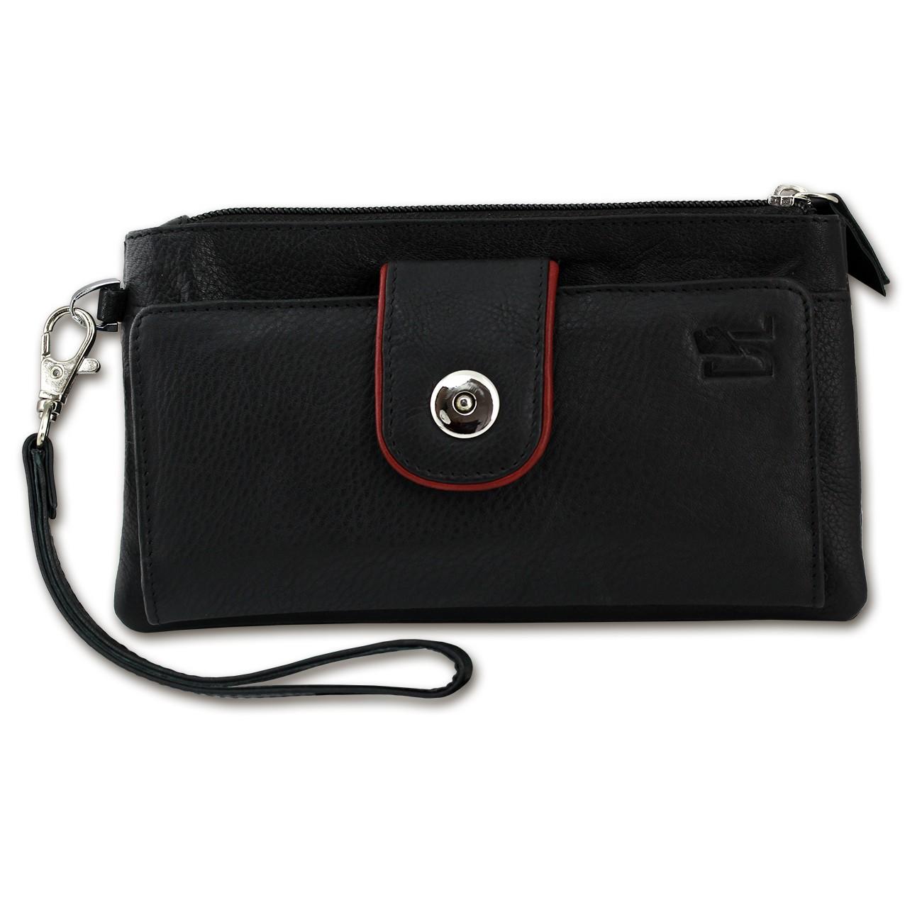 Geldbörse Handyhülle Clutch Leder schwarz Wristlet 3in1 DrachenLeder OTZ500S