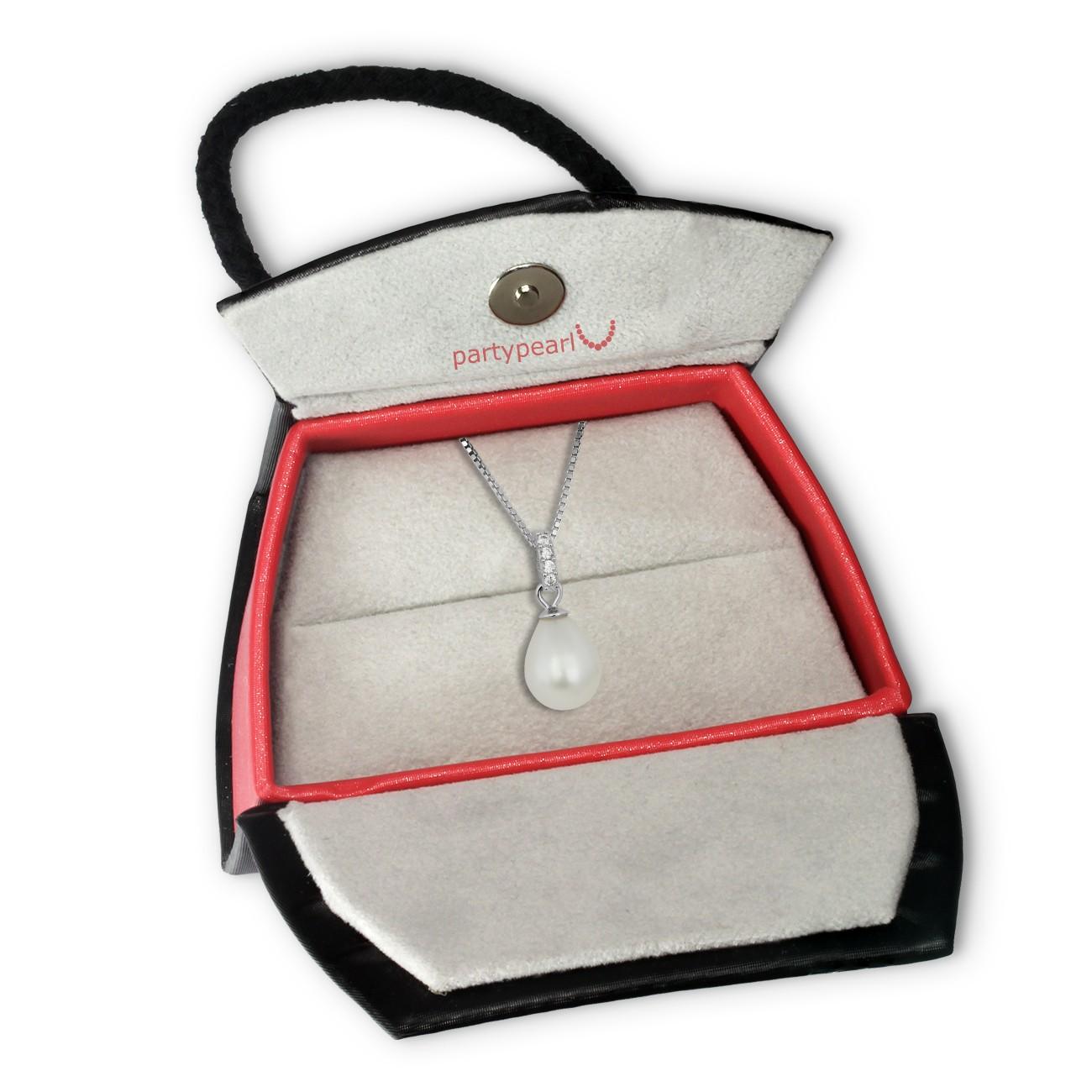 PartyPearl Schmuck Set Perlenkette weiß mit Verpackung Damen 925 Silber PPK001W8