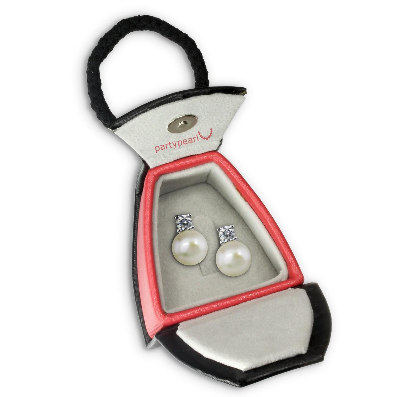 PartyPearl Schmuck Set Perlenohrstecker mit Verpackung Damen 925 Silber PPO013W8
