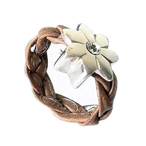 SilberDream 925 Silber Leder Ring Blume cognac Schmuck RXL21