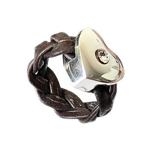 SilberDream 925 Silber Leder Ring Herz braun Schmuck RXL22