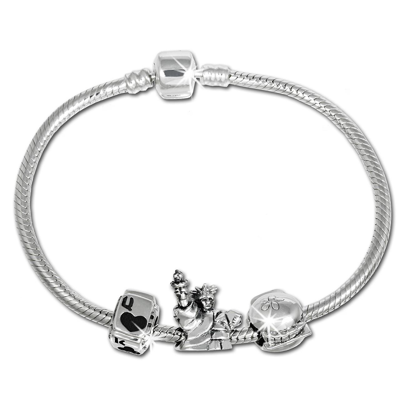 IMPPAC Komplett Armband + 3 Beads 925er Silber European Bead SBS009
