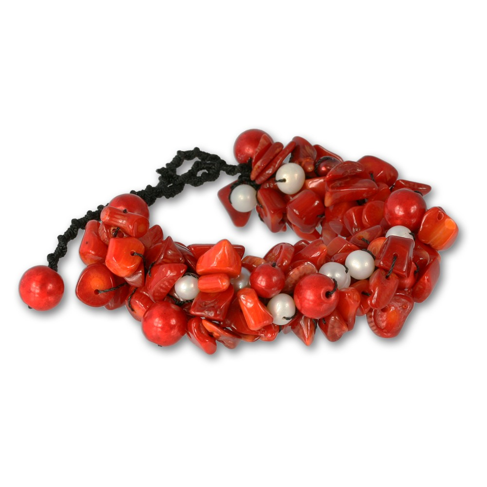 SilberDream Stein /Perlen Armband Geflecht rot SDA015