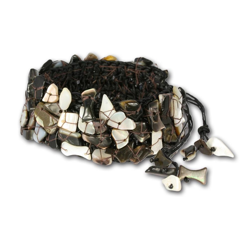 SilberDream Stein Armband Geflecht braun Armreifen SDA020