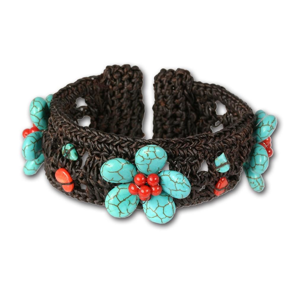 SilberDream Stein Armband Blume türkis rot Armreifen SDA022