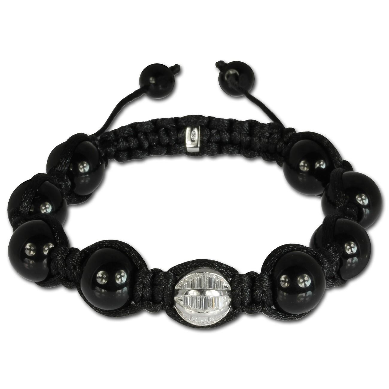SilberDream Shamballa Armband schwarz 925 Silber Kugel SDA037W