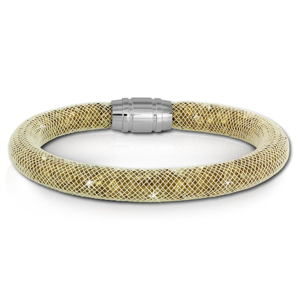 SilberDream Glitzerarmband Minikristalle goldfarben 20cm Armband Damen SDA050Y0