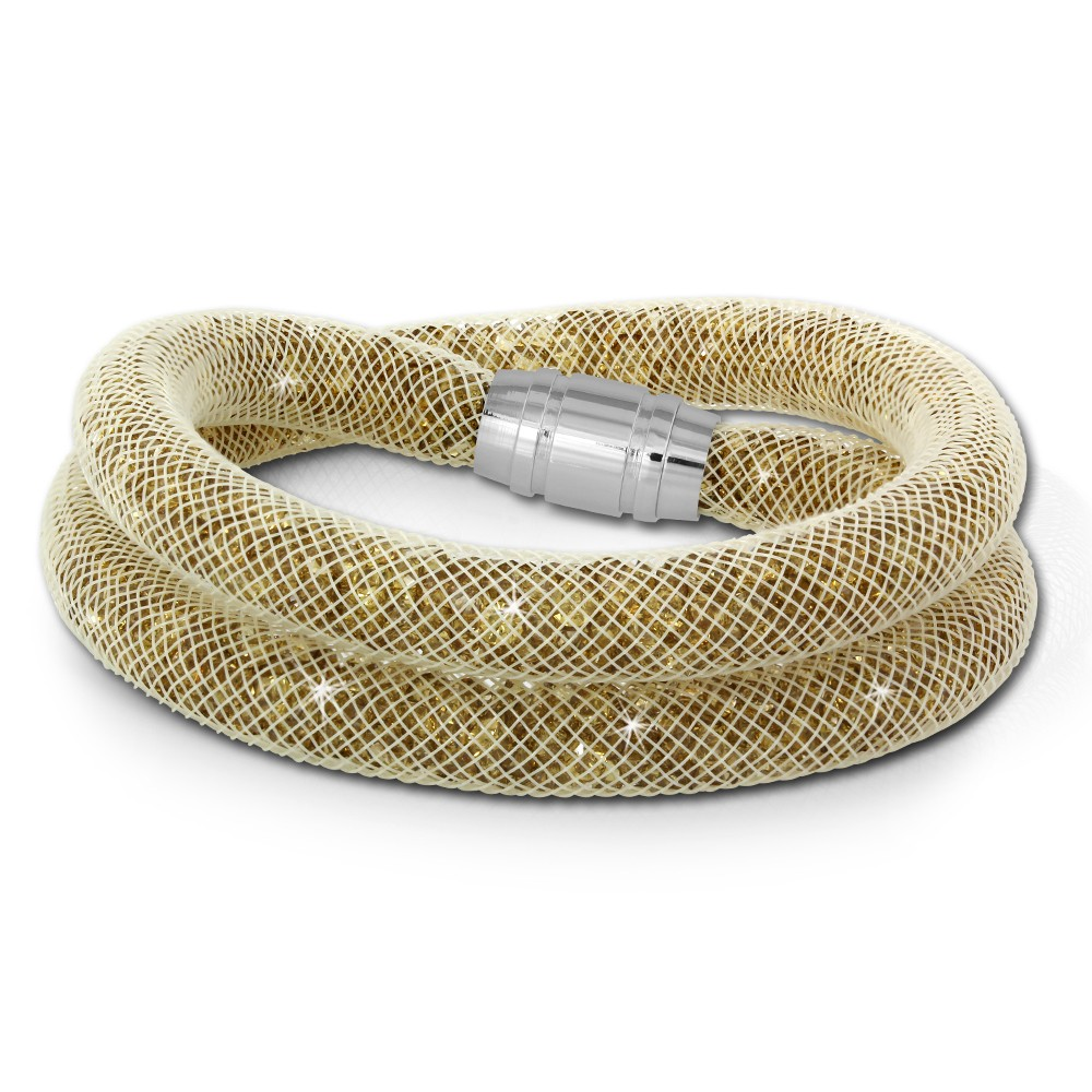 SilberDream Glitzerarmband Minikristalle goldfarbenen Doppelarmband SDA051Y9