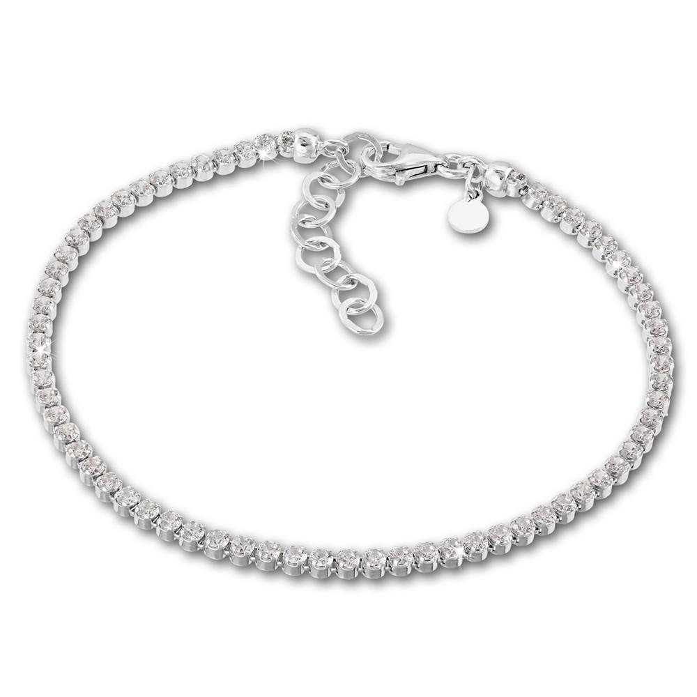 SilberDream Armband Zirkonia weiß 925 Sterling Silber Damen 18cm - 21cm SDA1028W