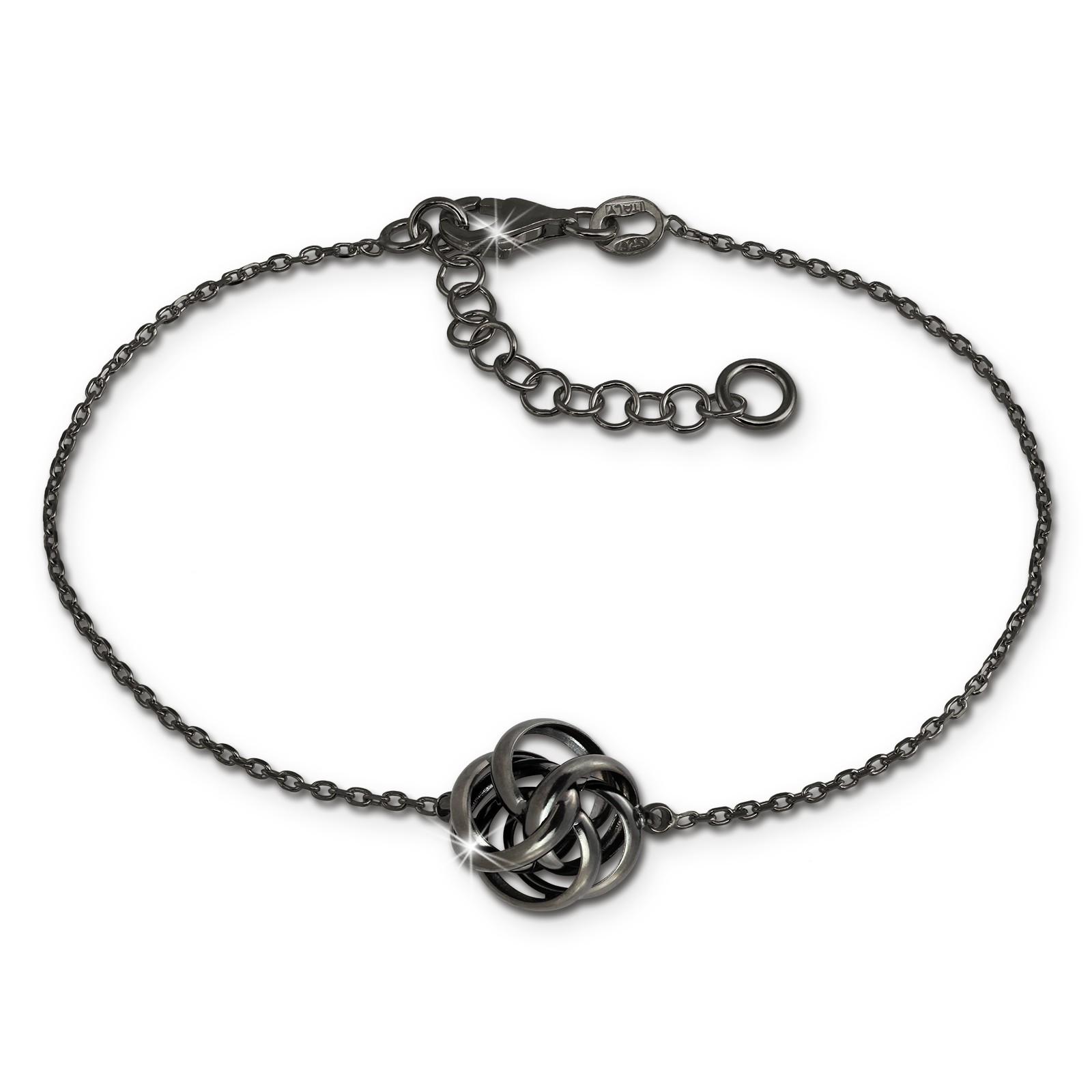 SilberDream Armband Knoten 925 Silber geschwärzt Damen 18cm - 21cm SDA1128S